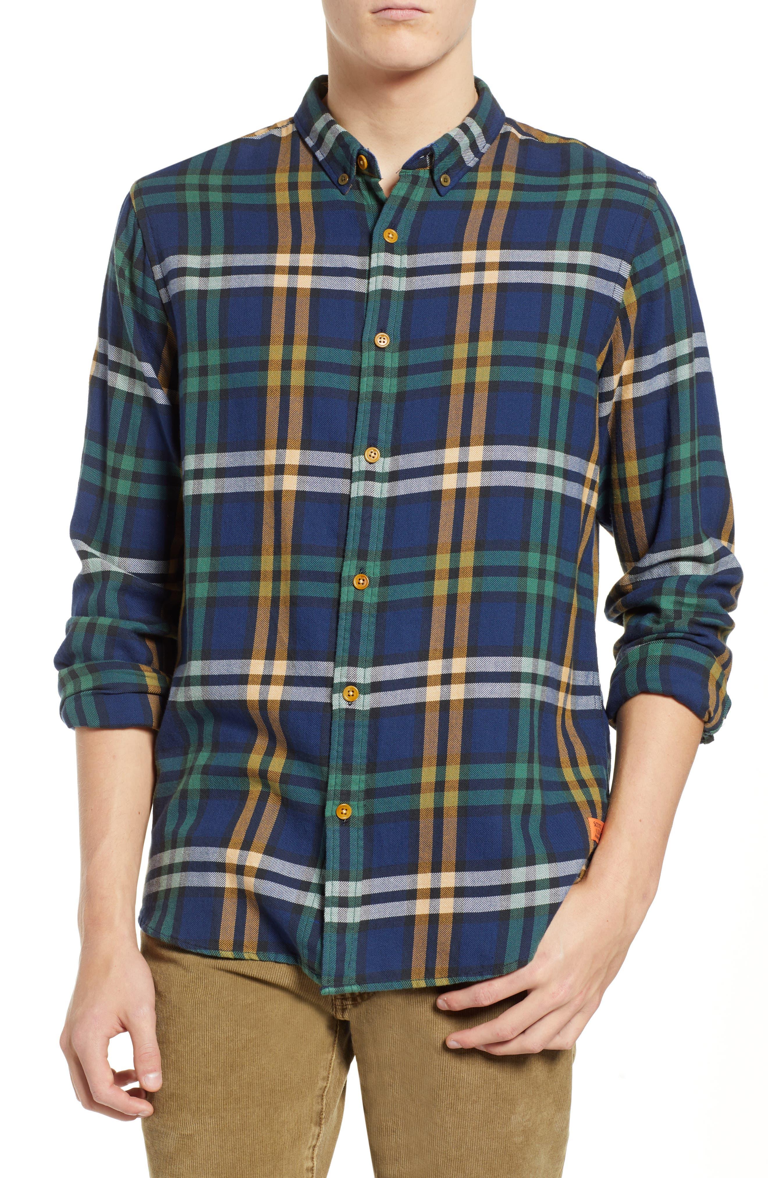 Scotch & Soda Check Flannel Shirt, Blue
