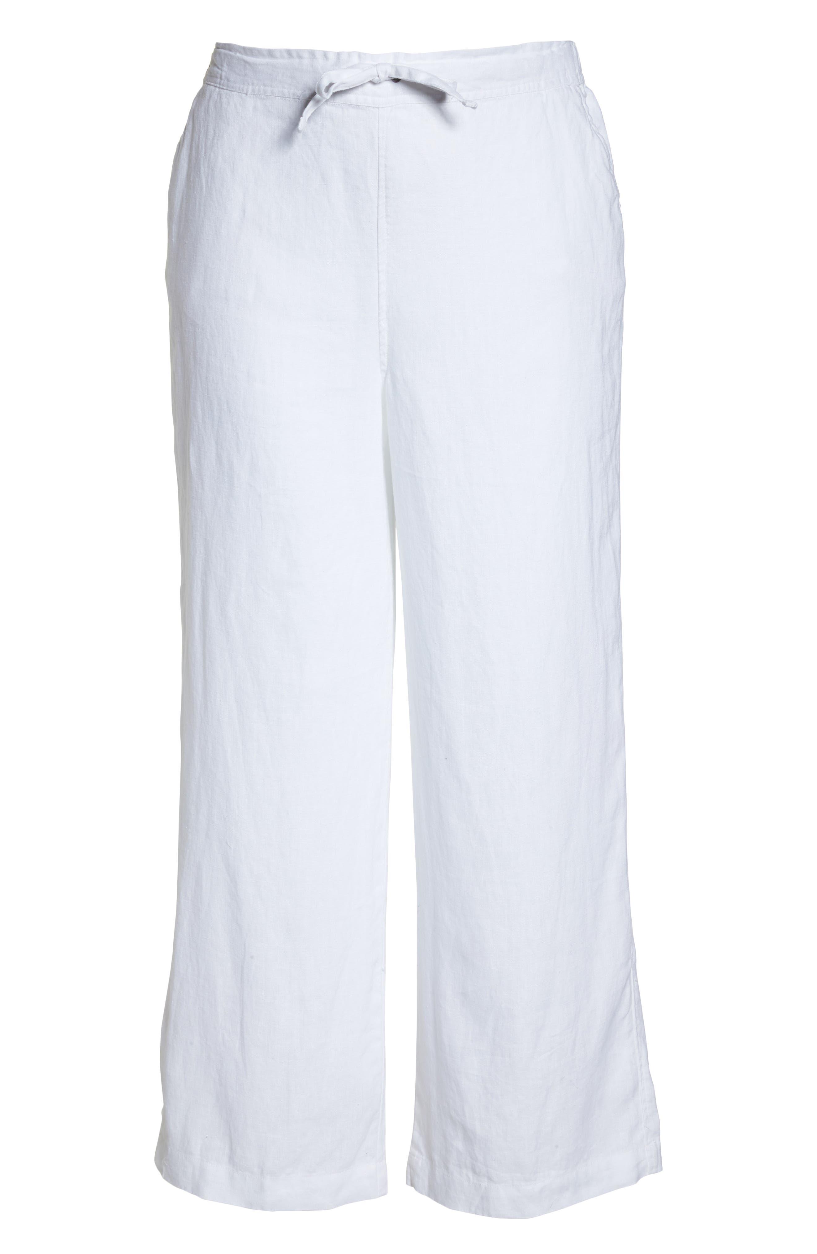 Wide Leg Linen Pants,                             Alternate thumbnail 7, color,                             ULTRA WHITE