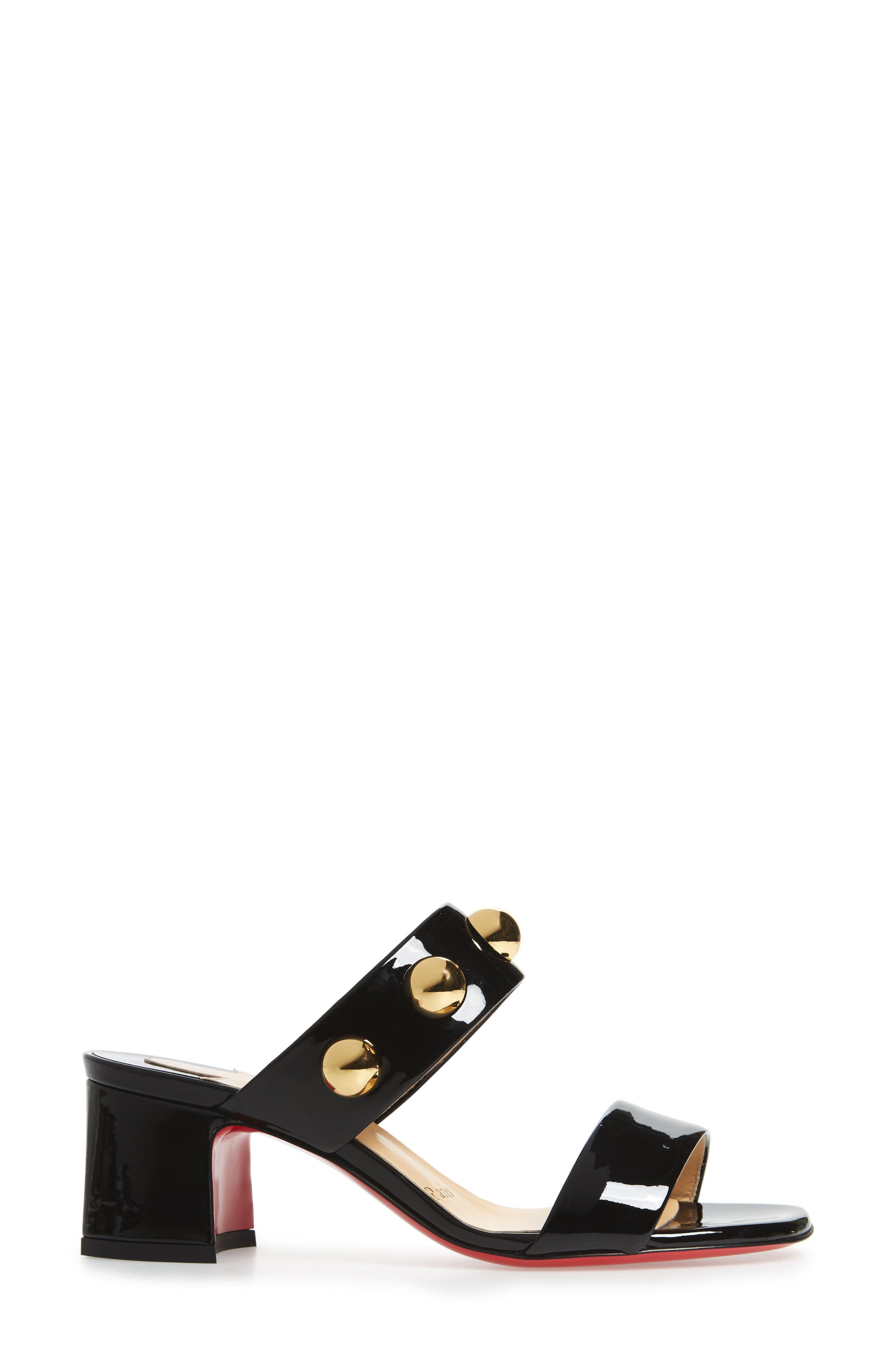 Simple Bille Ornament Slide Sandal,                             Alternate thumbnail 3, color,                             BLACK/ GOLD