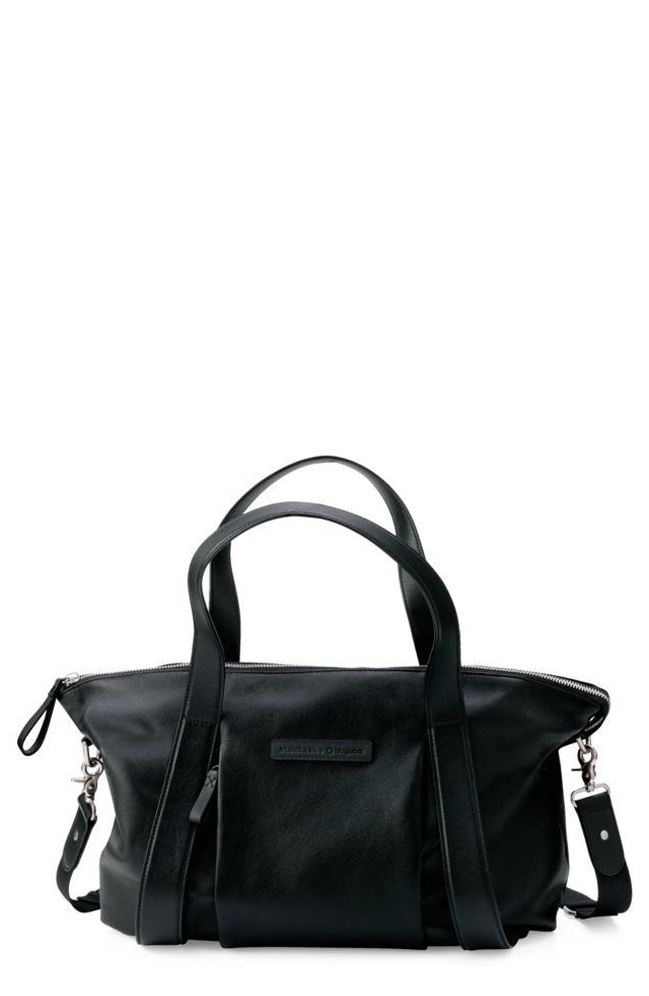 x Storksak Leather Diaper Tote Bag,                         Main,                         color, BLACK
