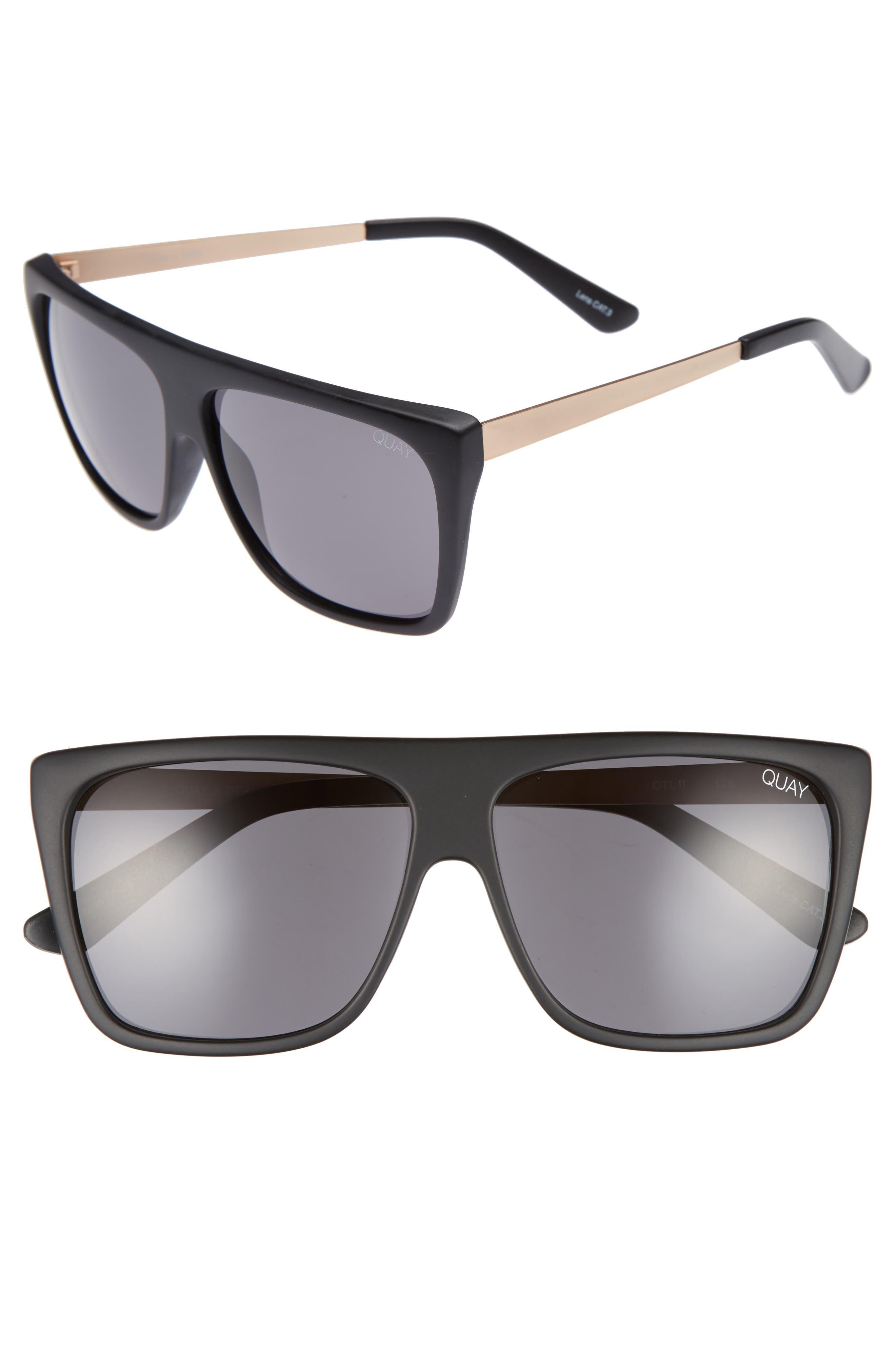 x Desi Perkins On the Low 60mm Square Sunglasses,                             Main thumbnail 1, color,                             BLACK/ SMOKE