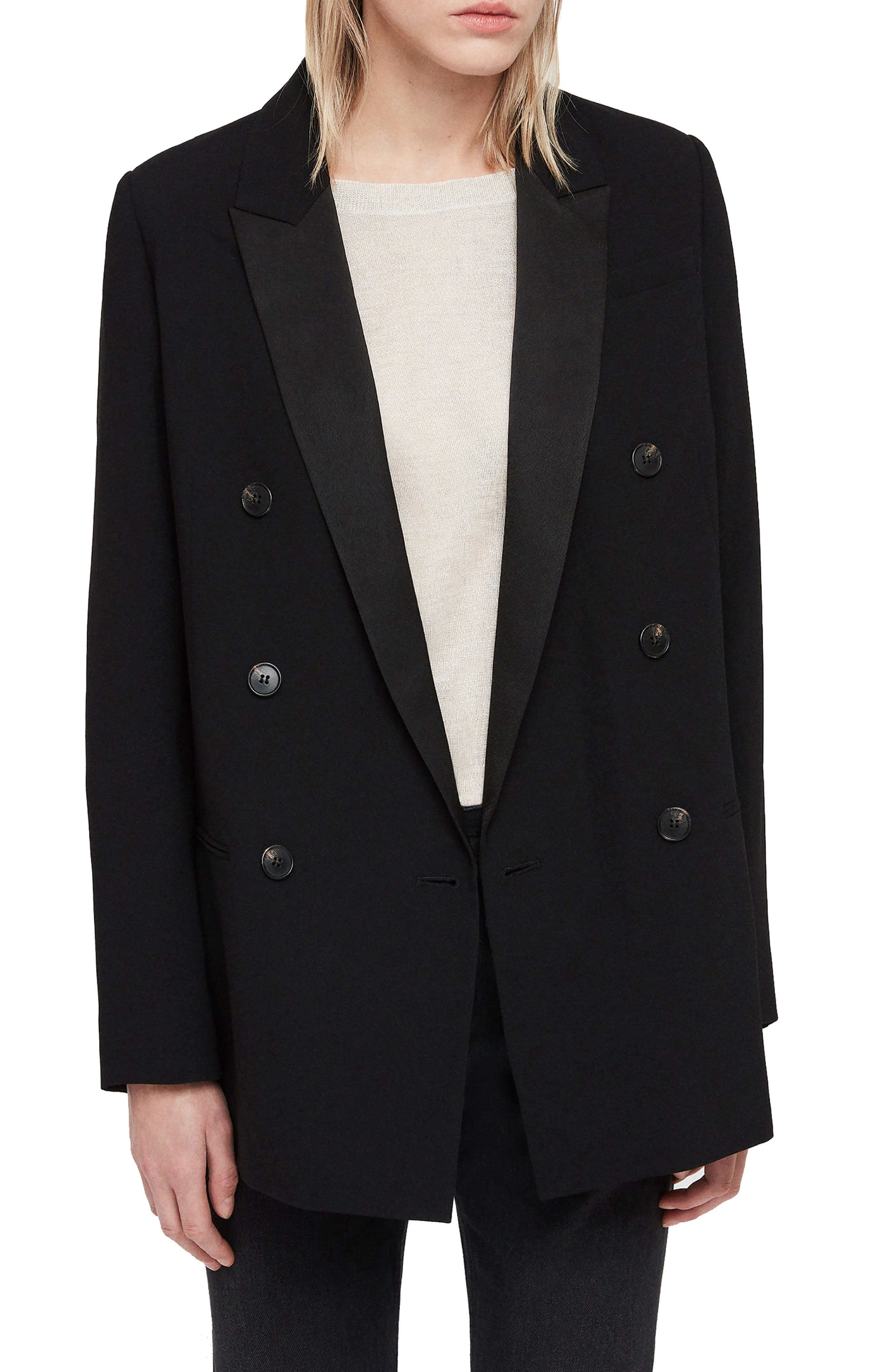 ALLSAINTS Isla Ora Double-Breasted Blazer in Black