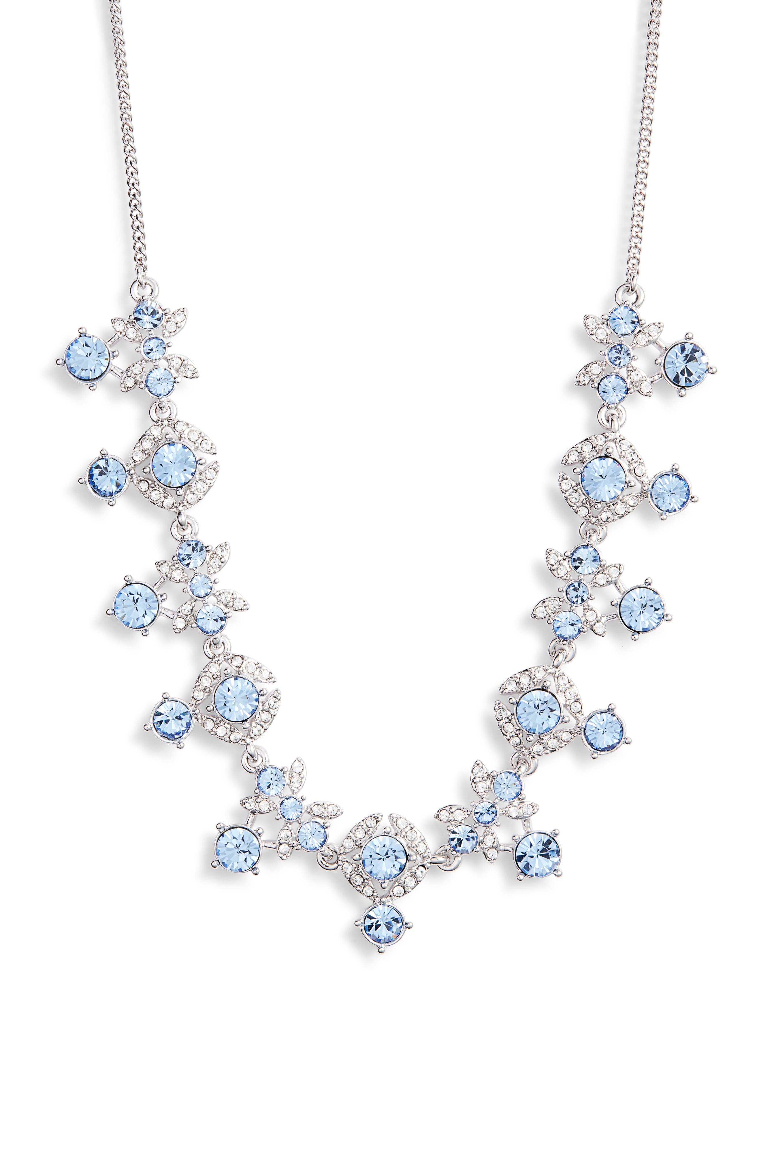 Crystal Frontal Necklace, Main, color, LIGHT SAPPHIRE/ SILVER