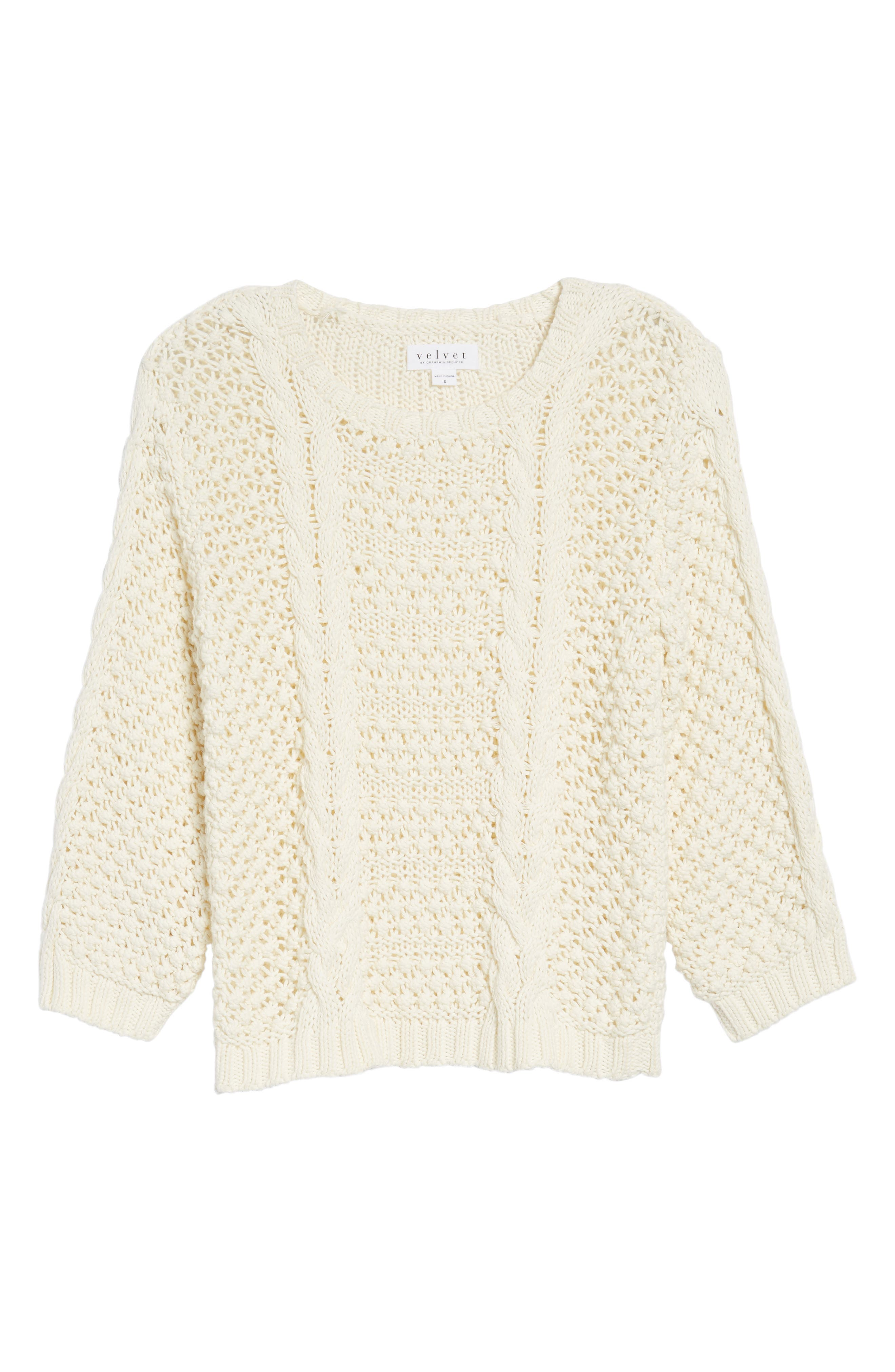 Popcorn Cable Sweater,                             Alternate thumbnail 6, color,                             905