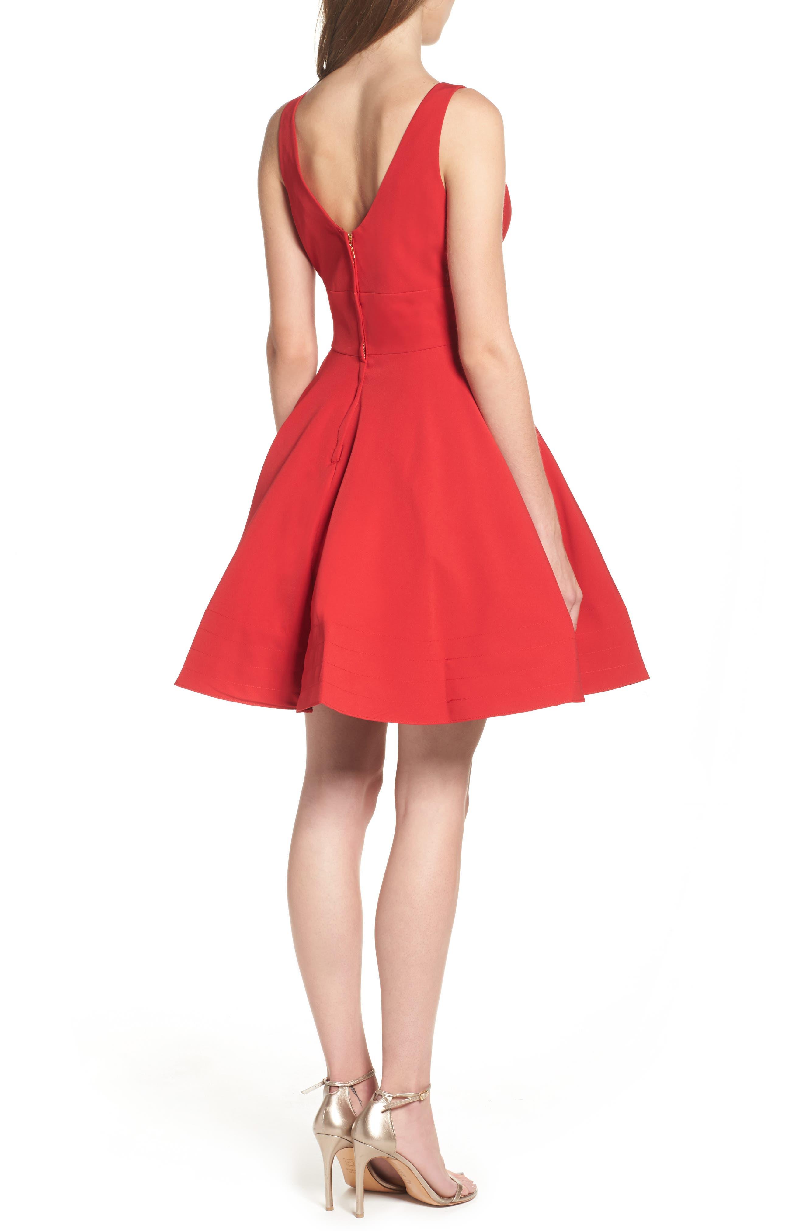V-Neck Fit & Flare Dress,                             Alternate thumbnail 2, color,                             602