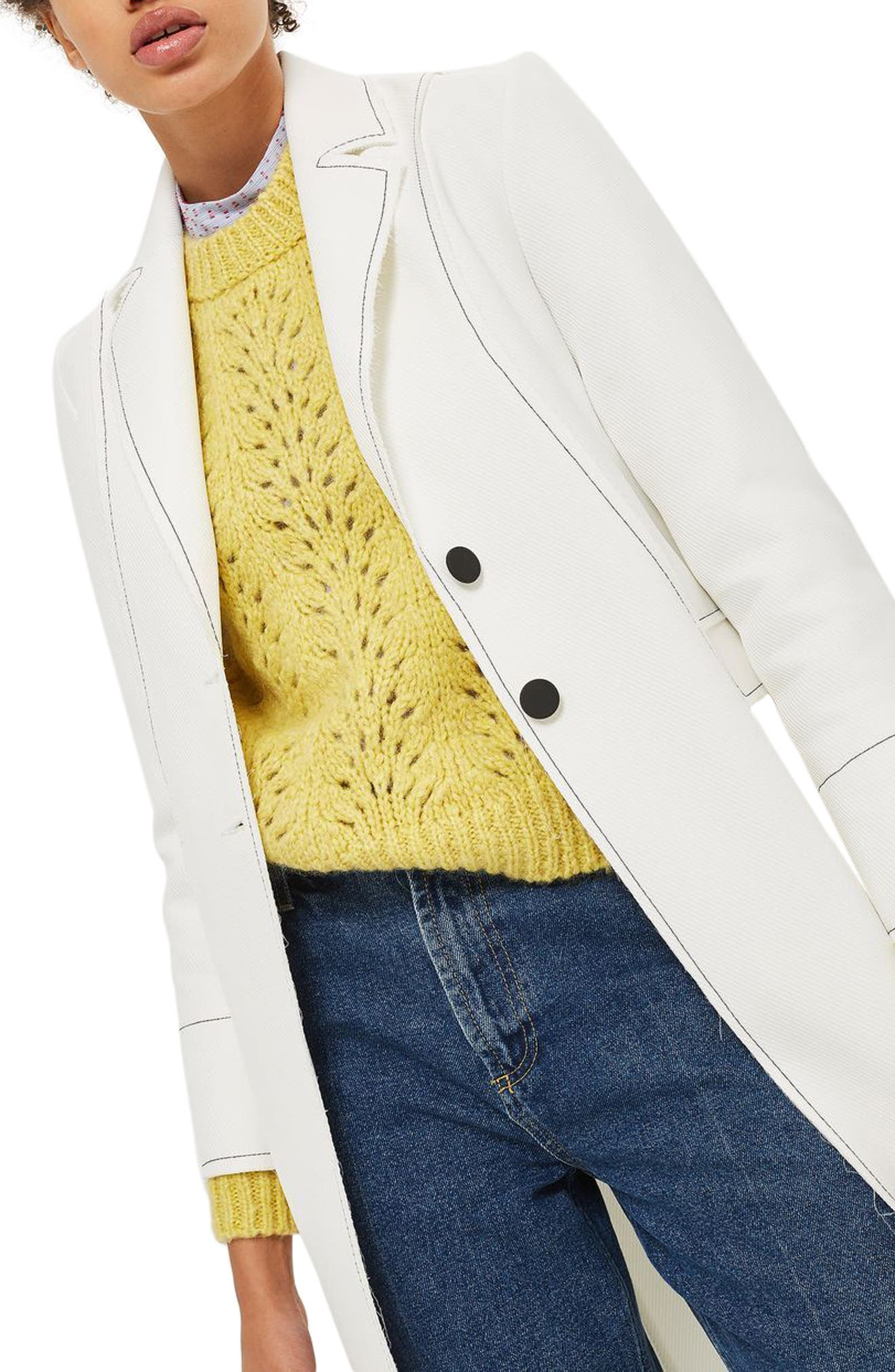 Contrast Stitch Twill Coat,                             Alternate thumbnail 4, color,                             100