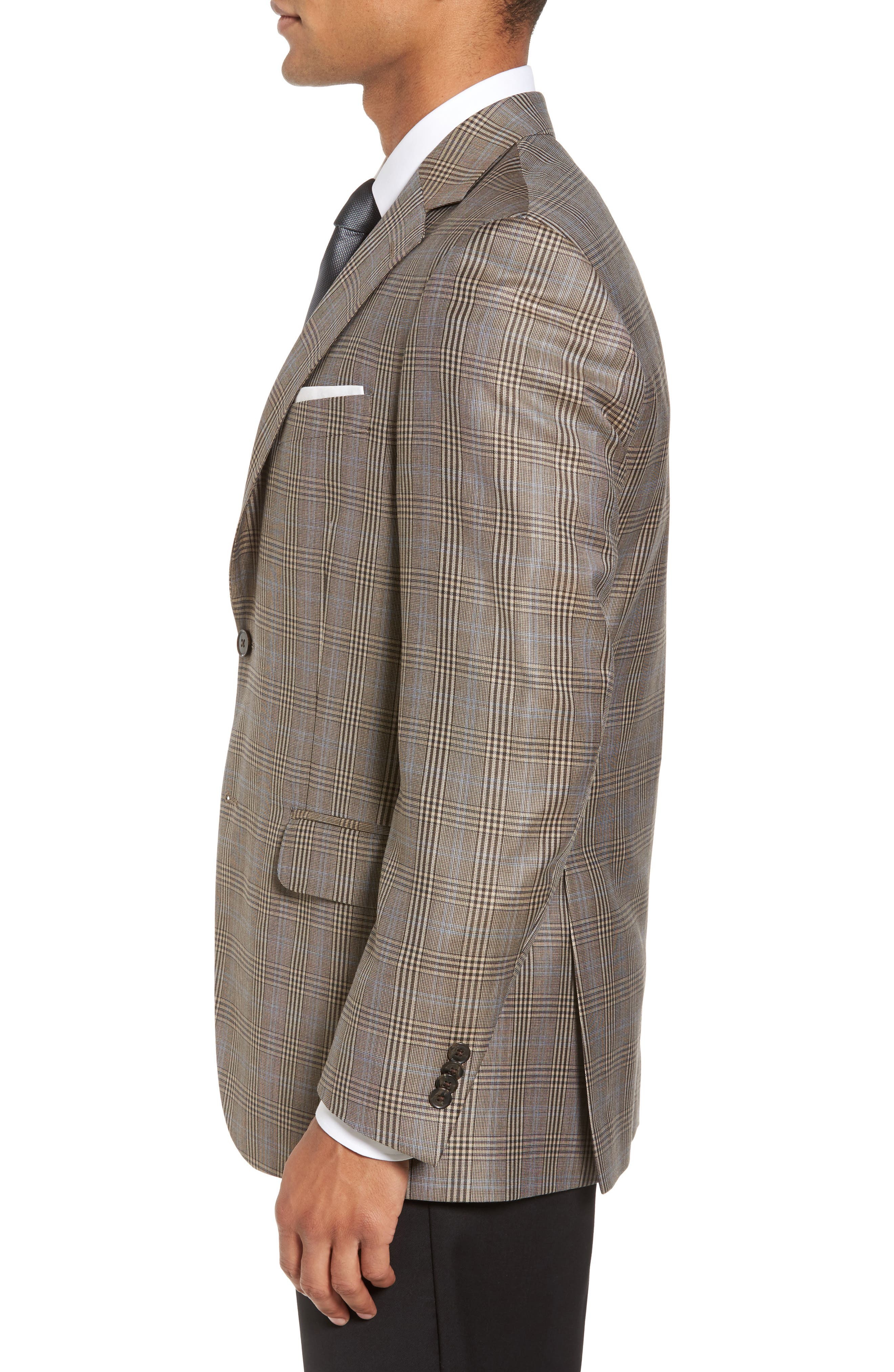 Classic Fit Plaid Wool Sport Coat,                             Alternate thumbnail 3, color,                             210