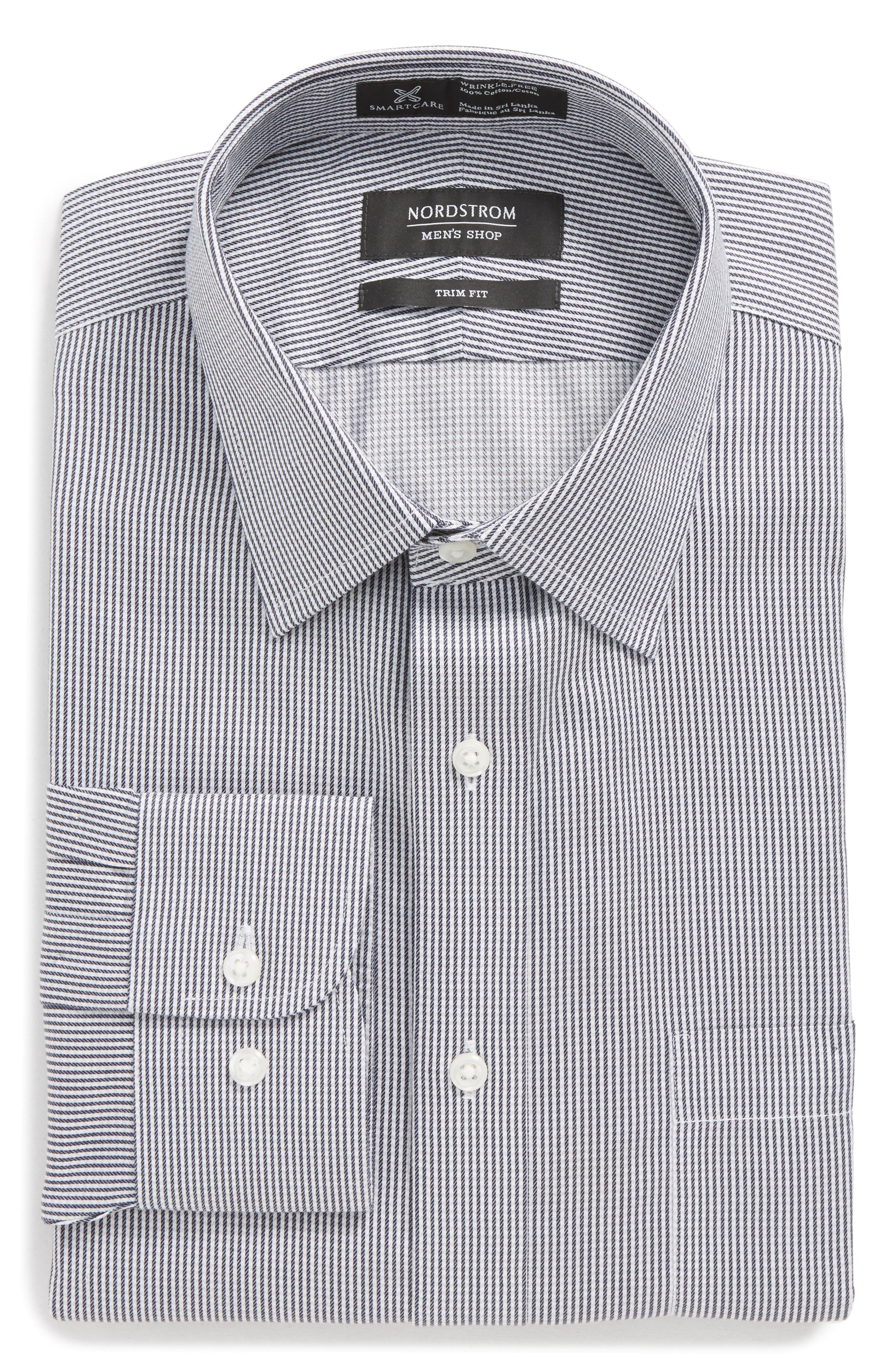 Smartcare<sup>™</sup> Trim Fit Stripe Dress Shirt,                             Alternate thumbnail 5, color,                             001
