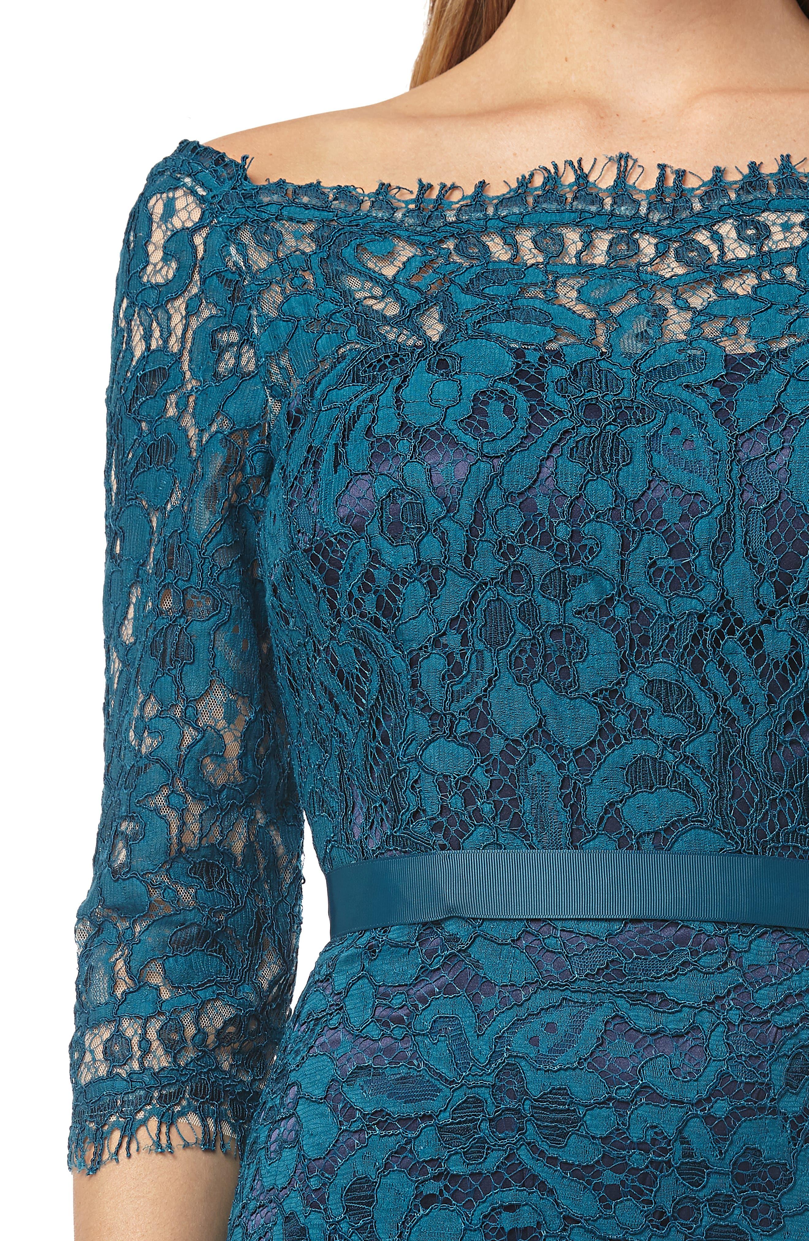 JS COLLECTIONS,                             Bateau Neck Lace Gown,                             Alternate thumbnail 4, color,                             TURQOISE NAVY
