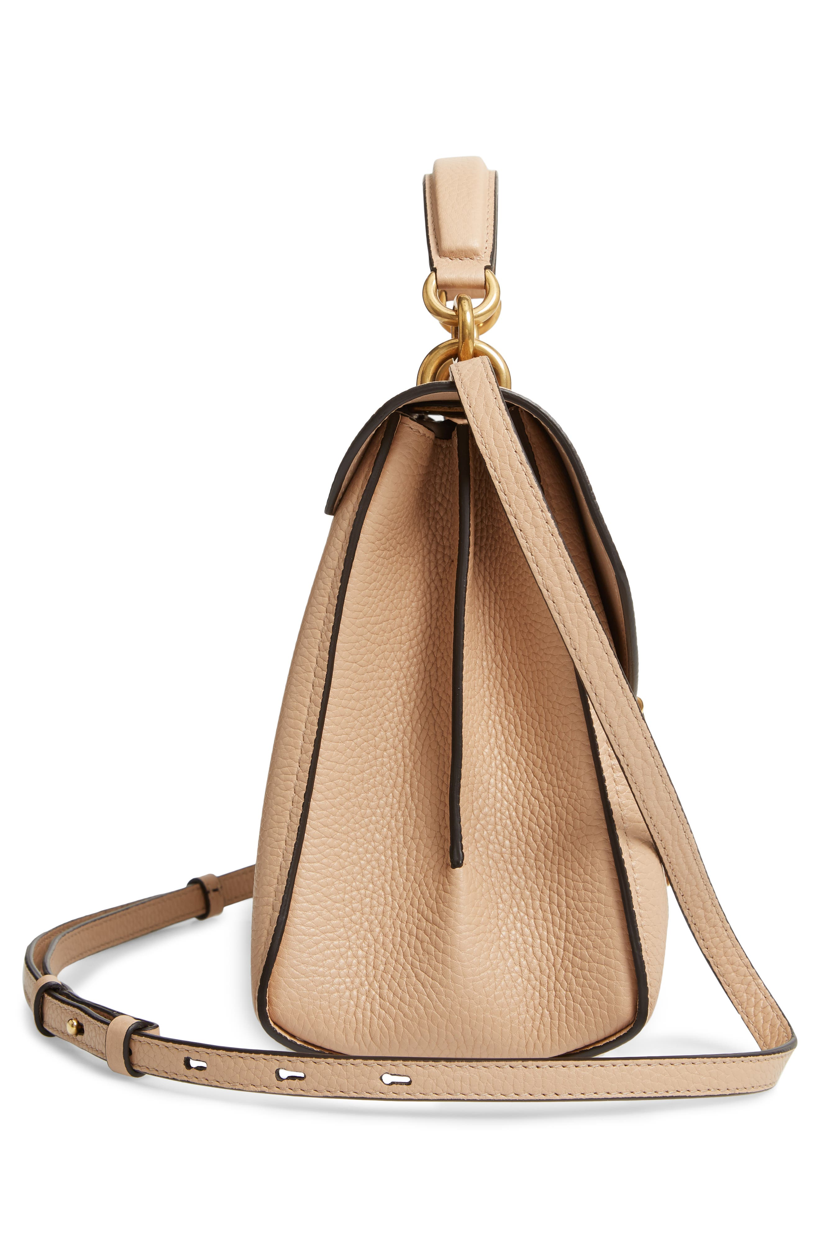 Small Margot Leather Top Handle Bag,                             Alternate thumbnail 5, color,                             ALMOND