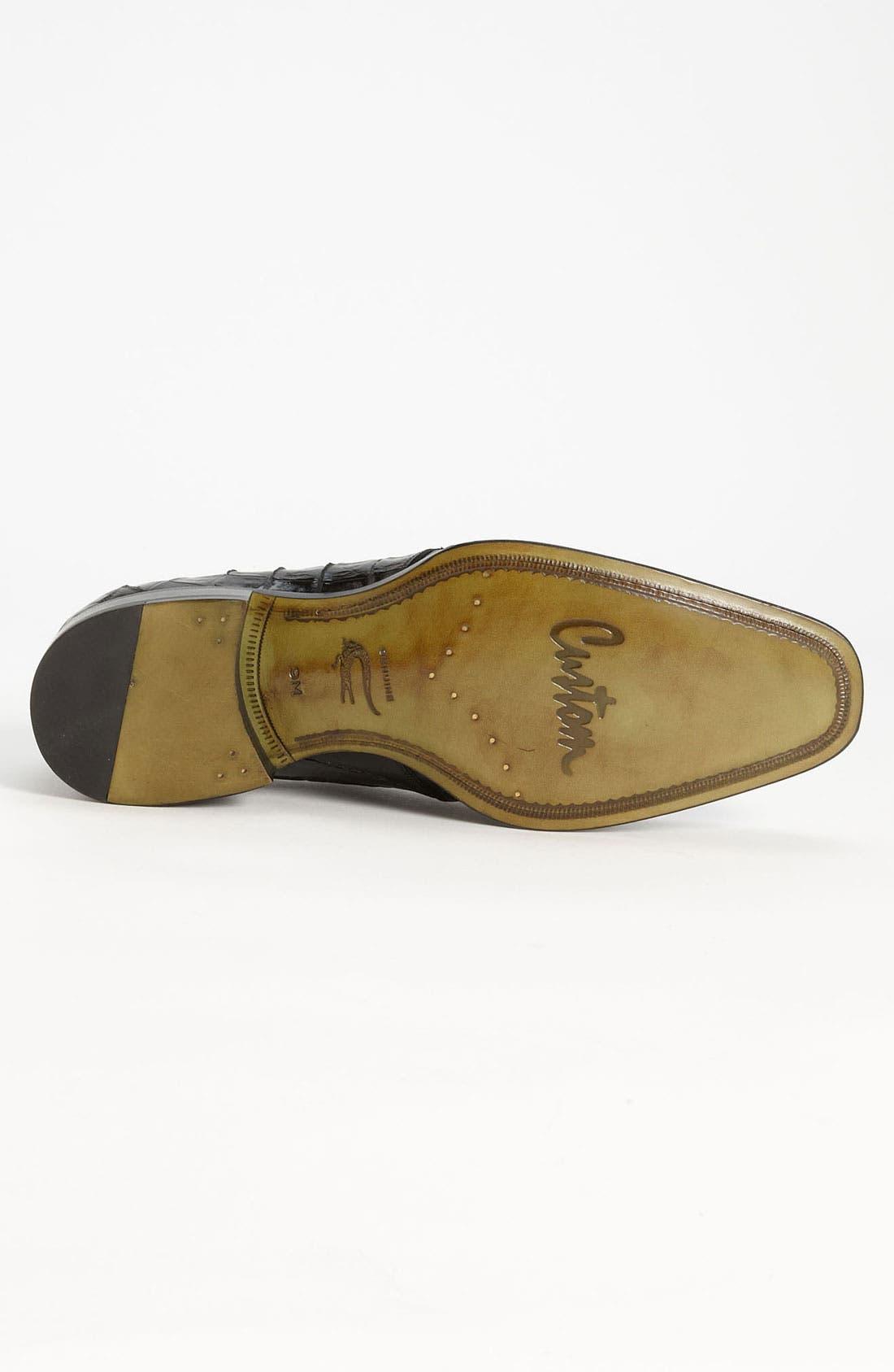 'Fiorello' Crocodile Loafer,                             Alternate thumbnail 4, color,                             BLACK