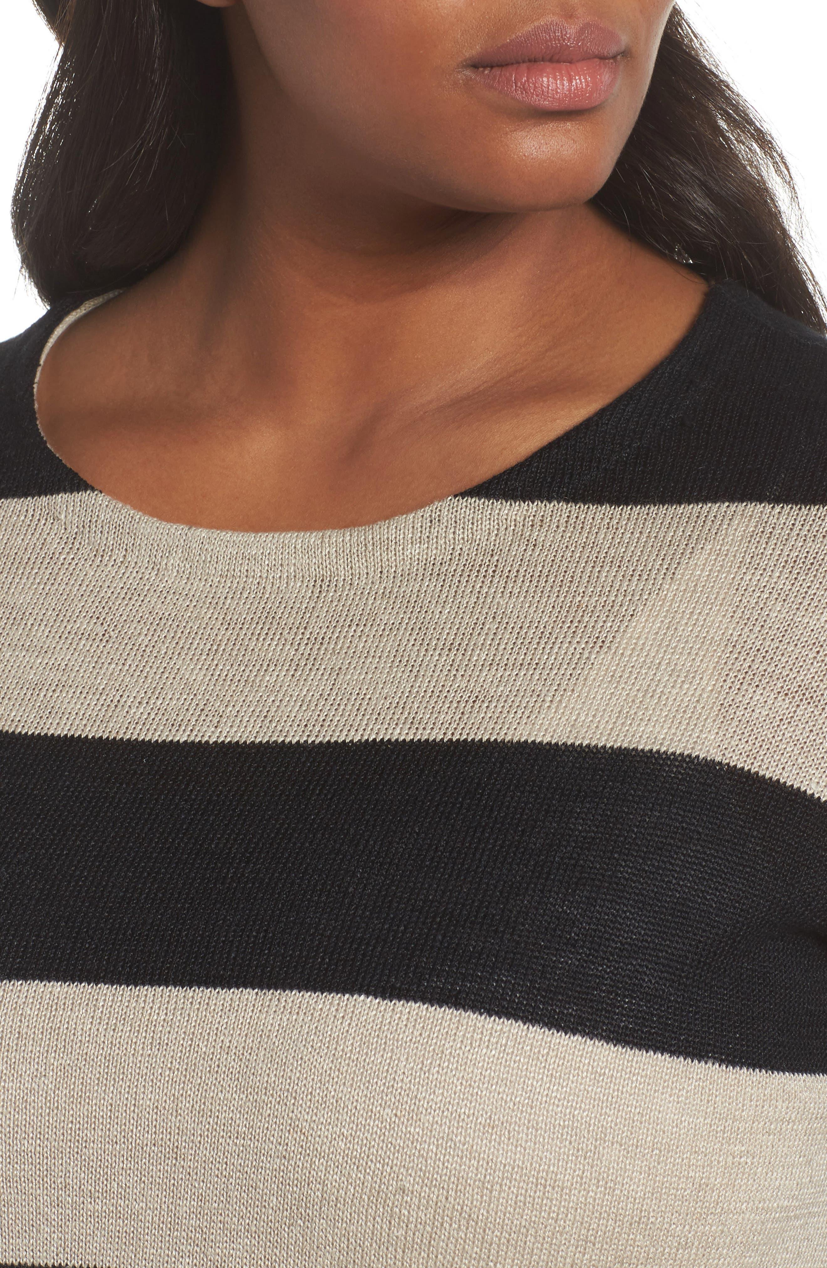 Stripe Linen Sweater,                             Alternate thumbnail 4, color,                             008