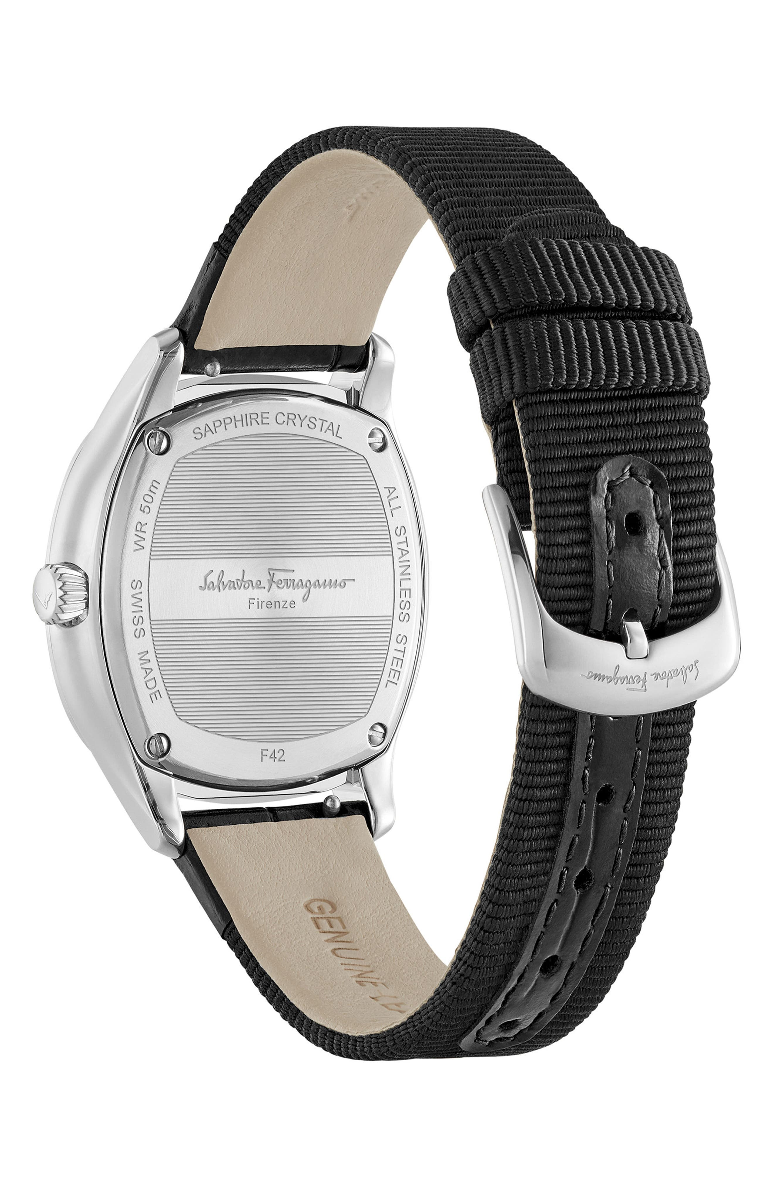 Dual Leather Strap Watch, 36mm,                             Alternate thumbnail 2, color,                             BLACK/ SILVER
