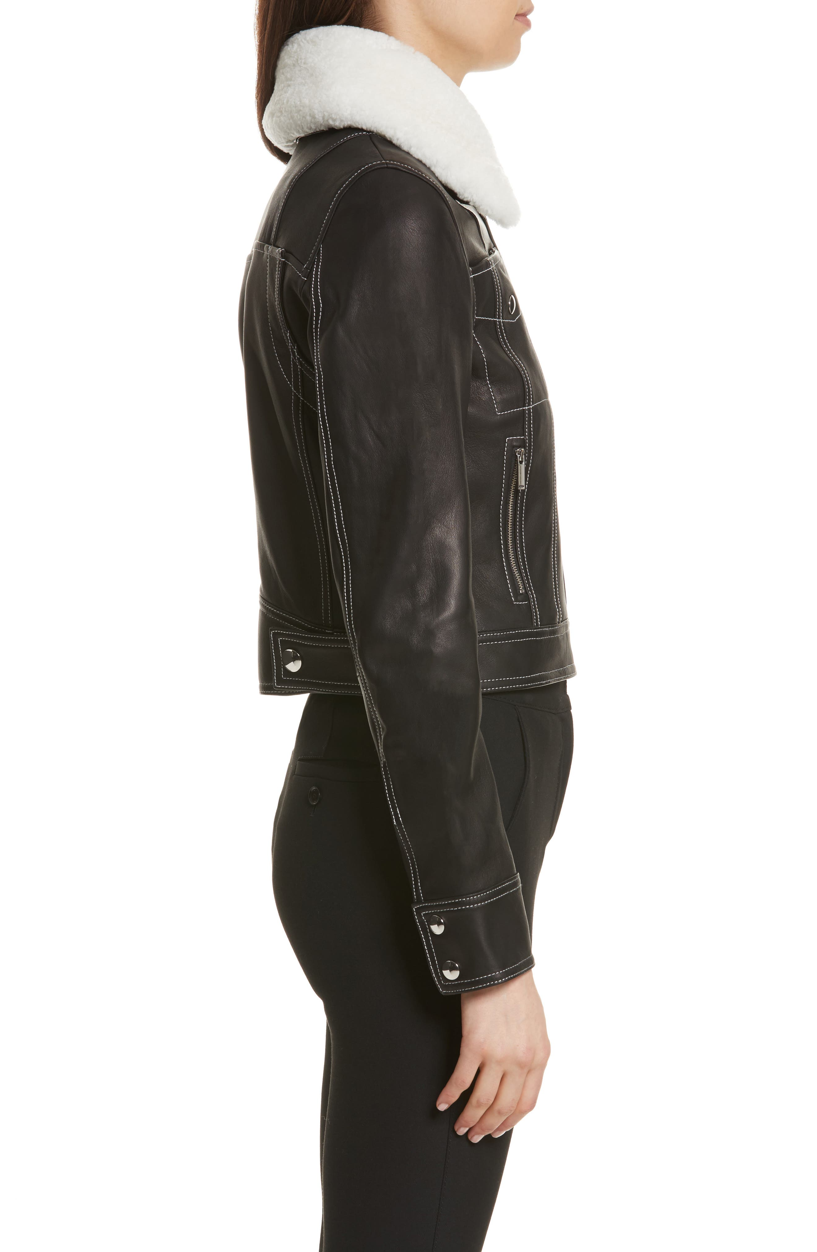 GREY Jason Wu Shrunken Leather Jacket with Removable Genuine Shearling Collar,                             Alternate thumbnail 3, color,                             009