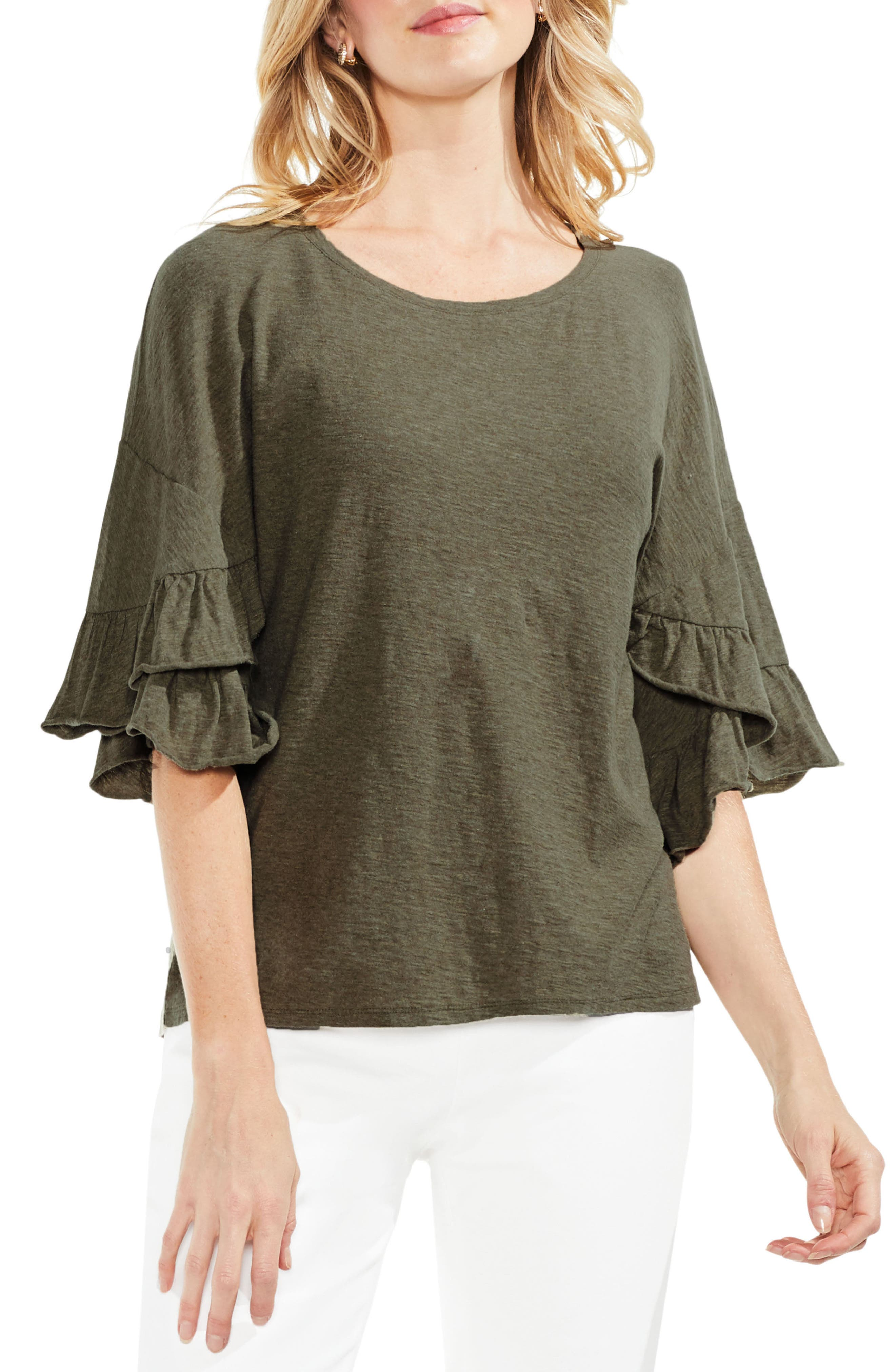 Tiered Ruffle Sleeve Top,                             Main thumbnail 1, color,                             371