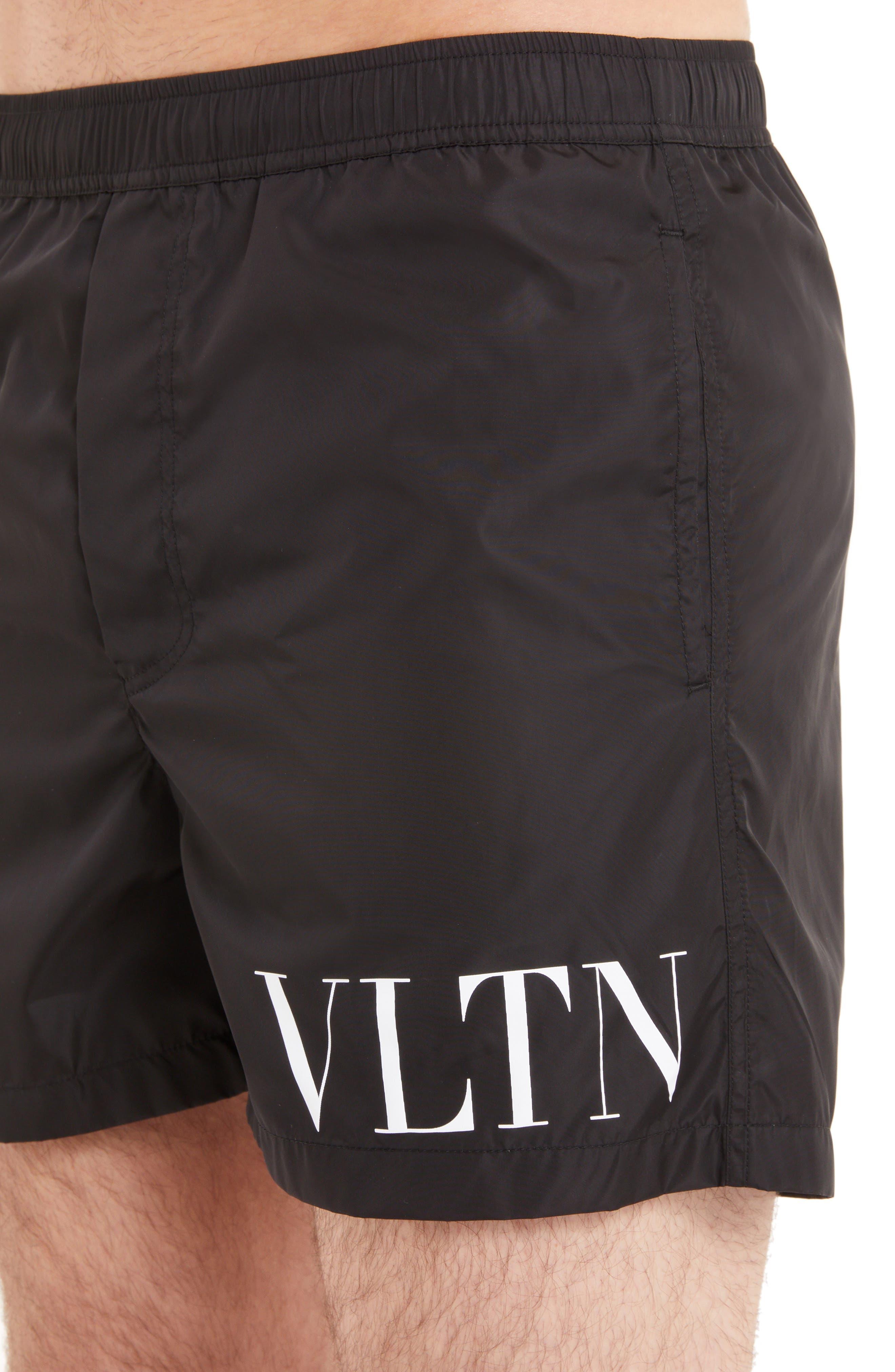 VLTN Logo Swim Trunks,                             Alternate thumbnail 4, color,                             NERO