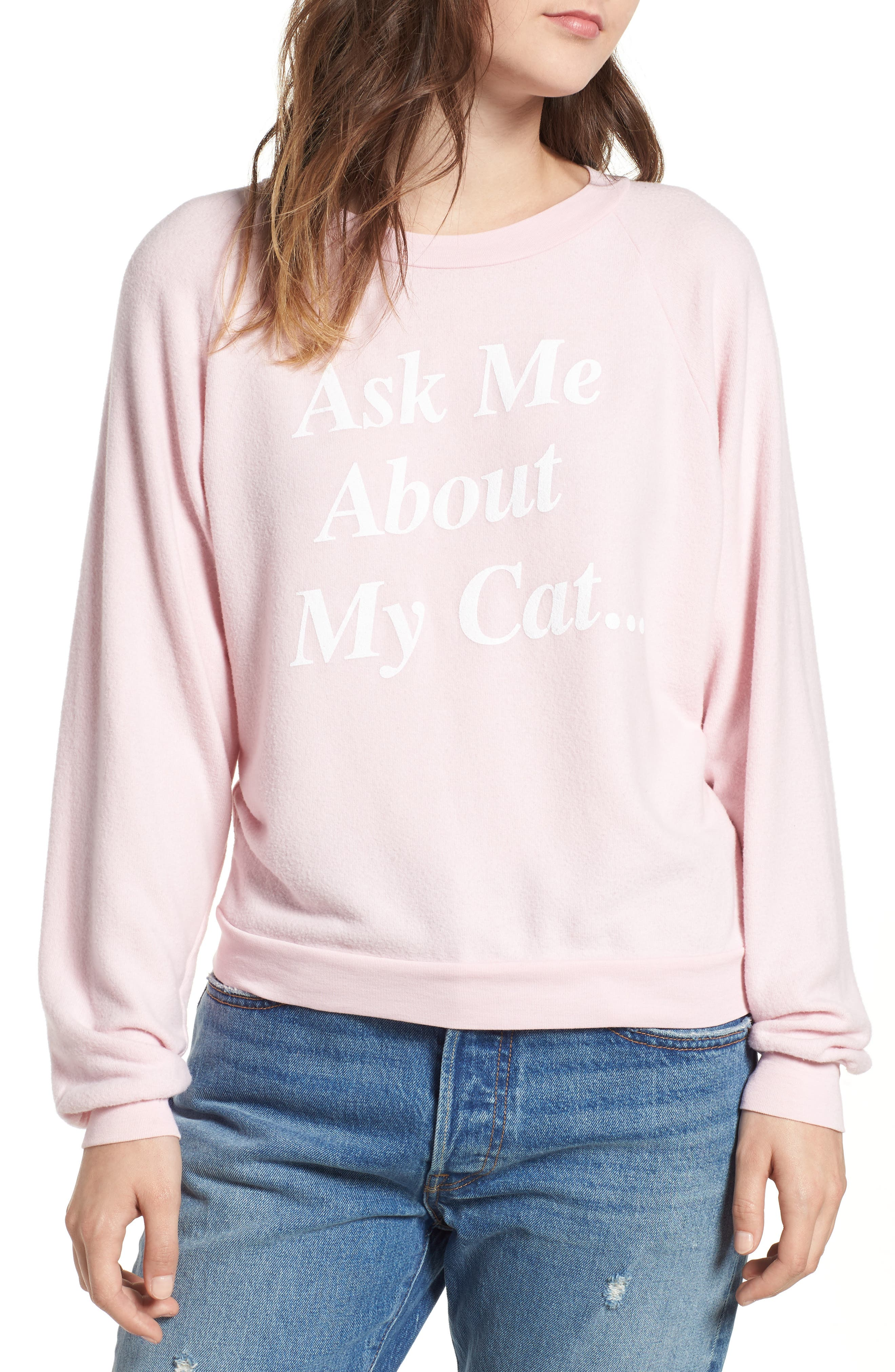 My Cat Sweatshirt,                         Main,                         color, BABY DOLL PINK