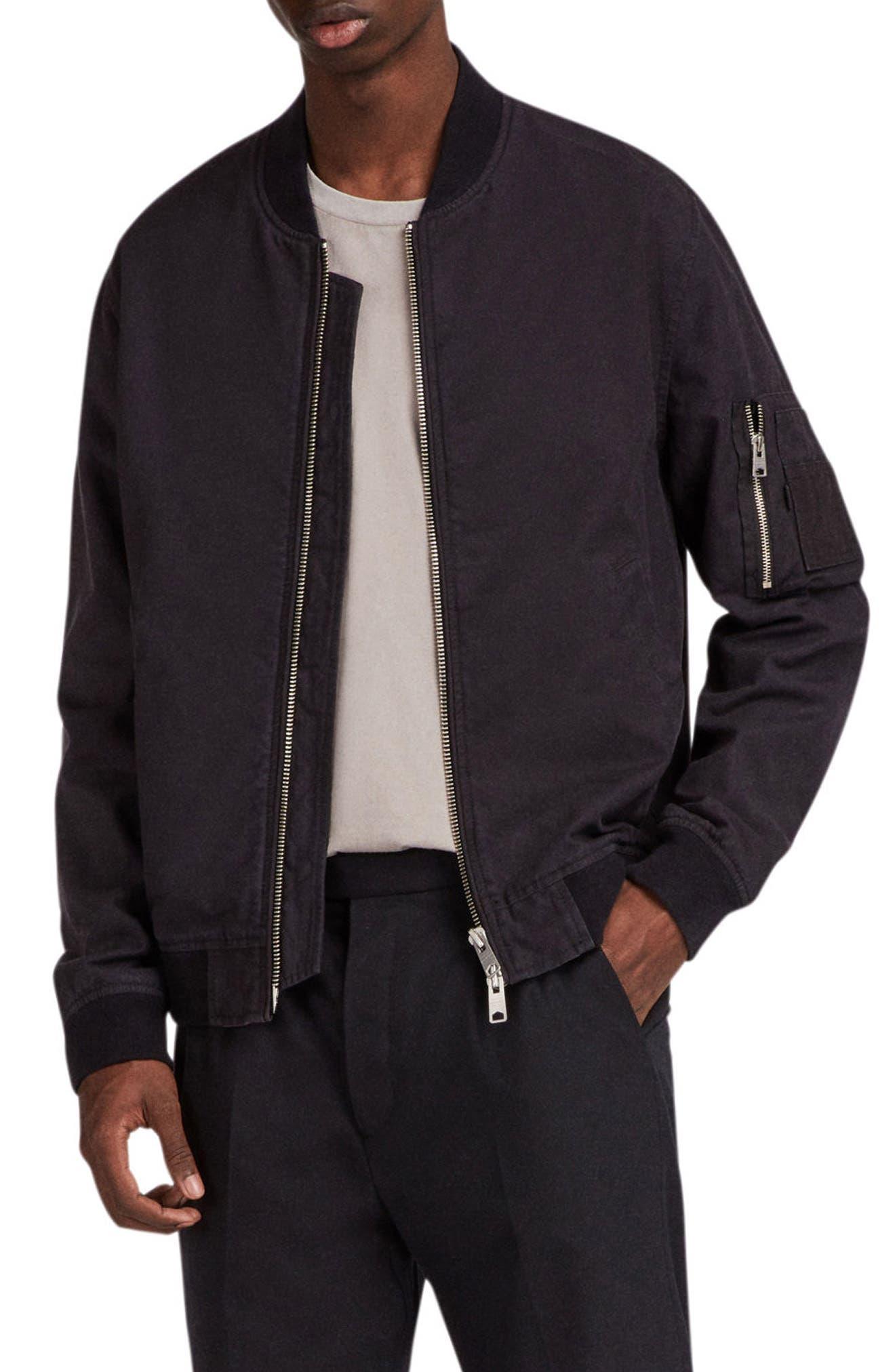 ALLSAINTS Moyne Bomber Jacket, Main, color, 001