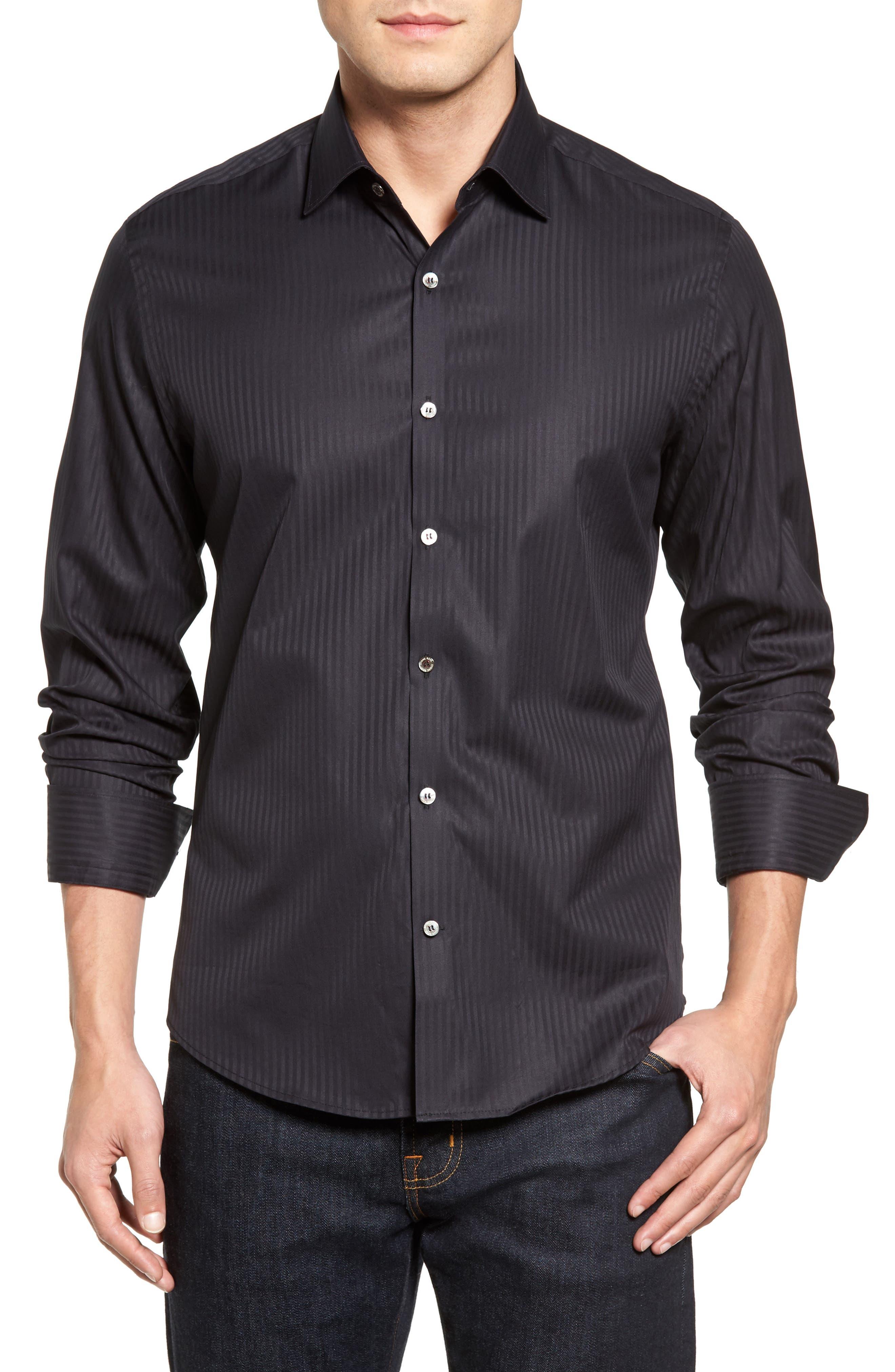 Tonal Stripe Sport Shirt,                         Main,                         color, BLACK