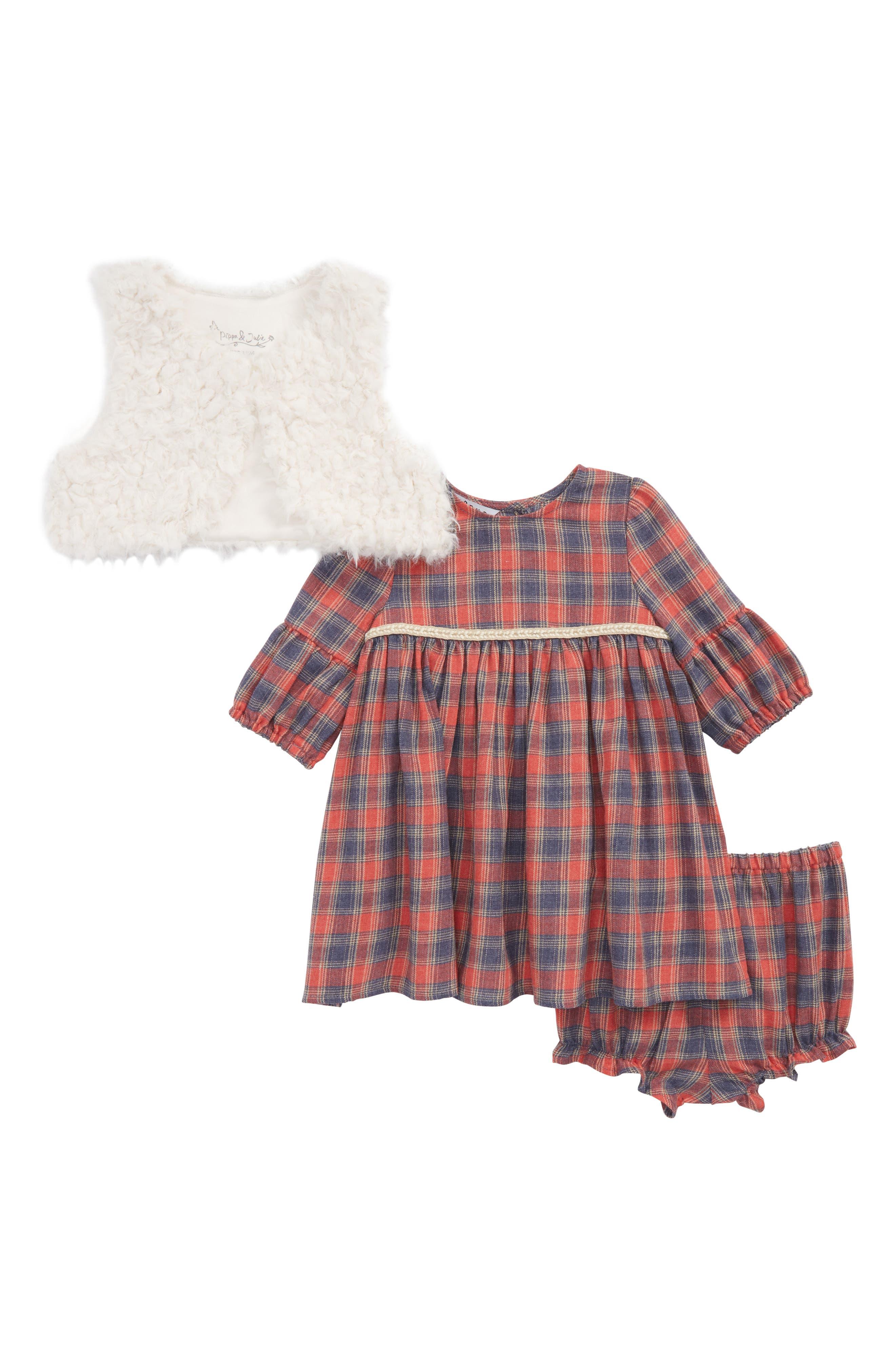 Faux Fur Vest & Plaid Dress Set,                             Main thumbnail 1, color,                             900