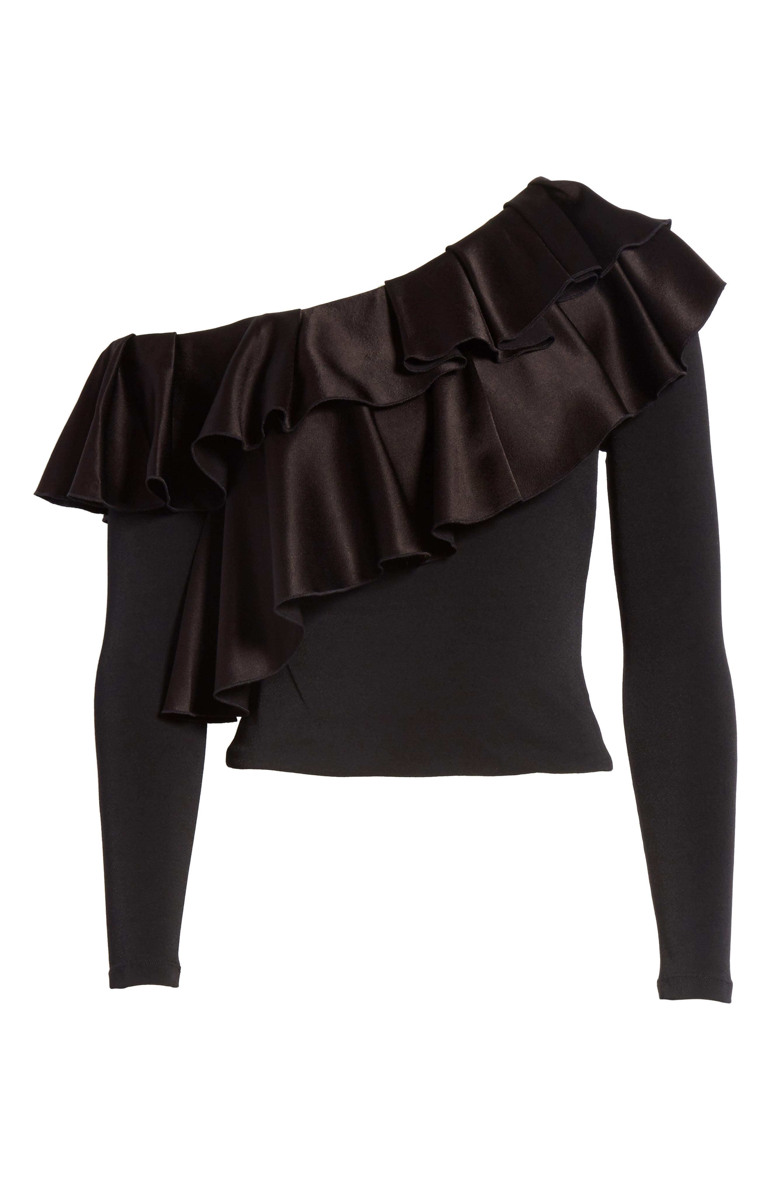 Izzy One-Shoulder Ruffle Crop Top,                             Alternate thumbnail 6, color,