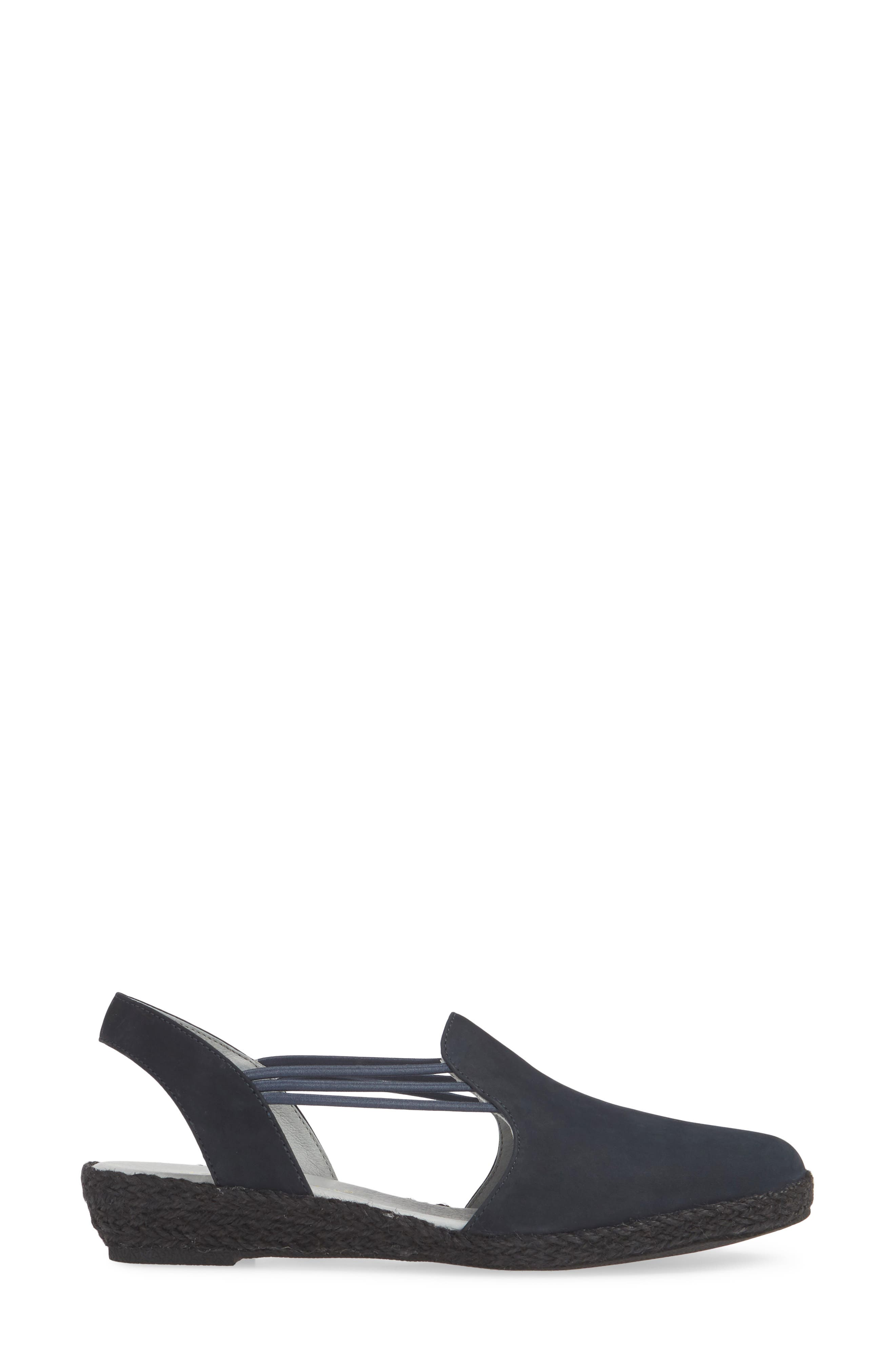 DAVID TATE,                             'Nelly' Slingback Wedge Sandal,                             Alternate thumbnail 3, color,                             NAVY NUBUCK LEATHER