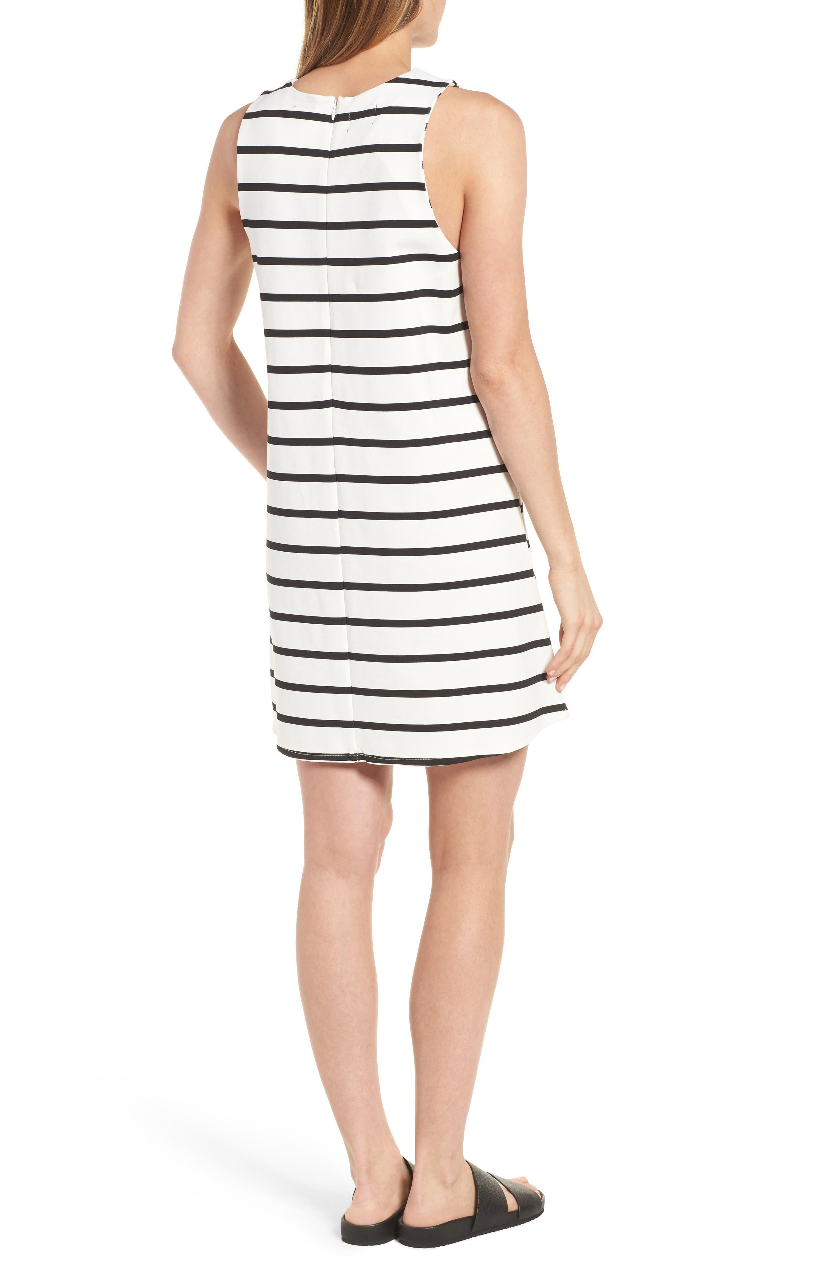 Stripe A-Line Dress,                             Alternate thumbnail 2, color,                             100