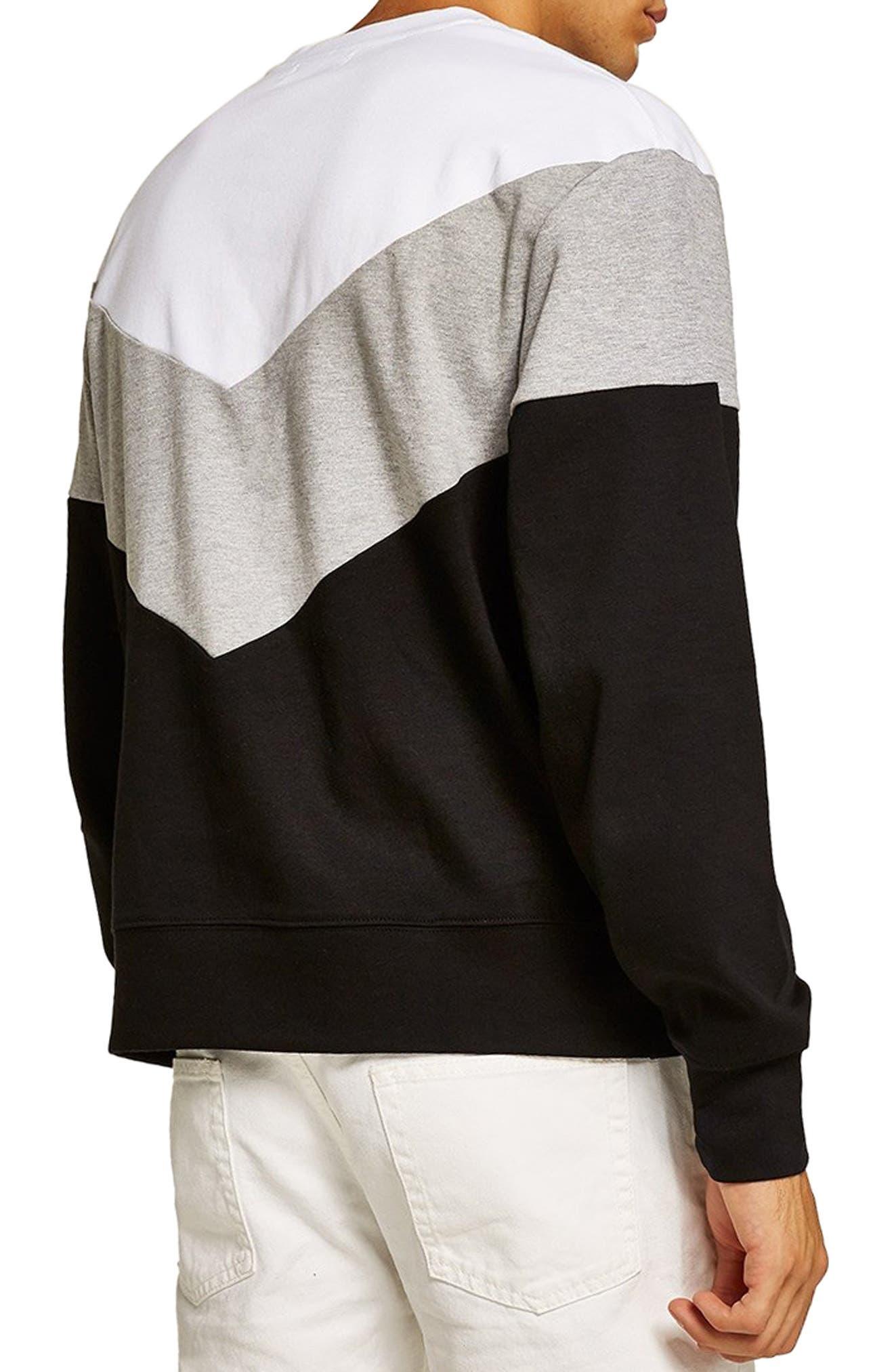 Chevron Colorblock Sweatshirt,                             Alternate thumbnail 2, color,                             BLACK MULTI