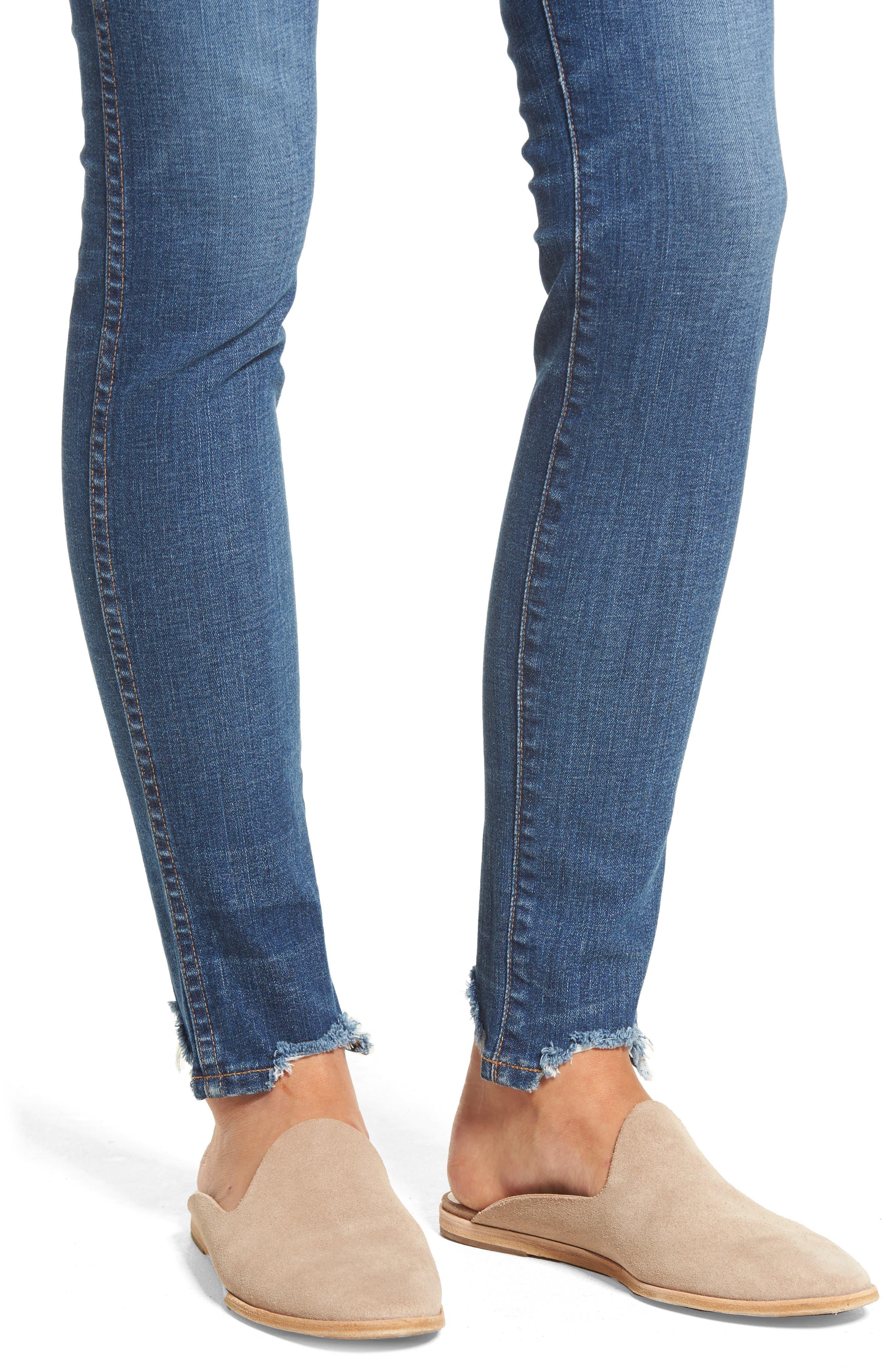 10-Inch Chewed Hem Skinny Jeans,                             Alternate thumbnail 4, color,                             400