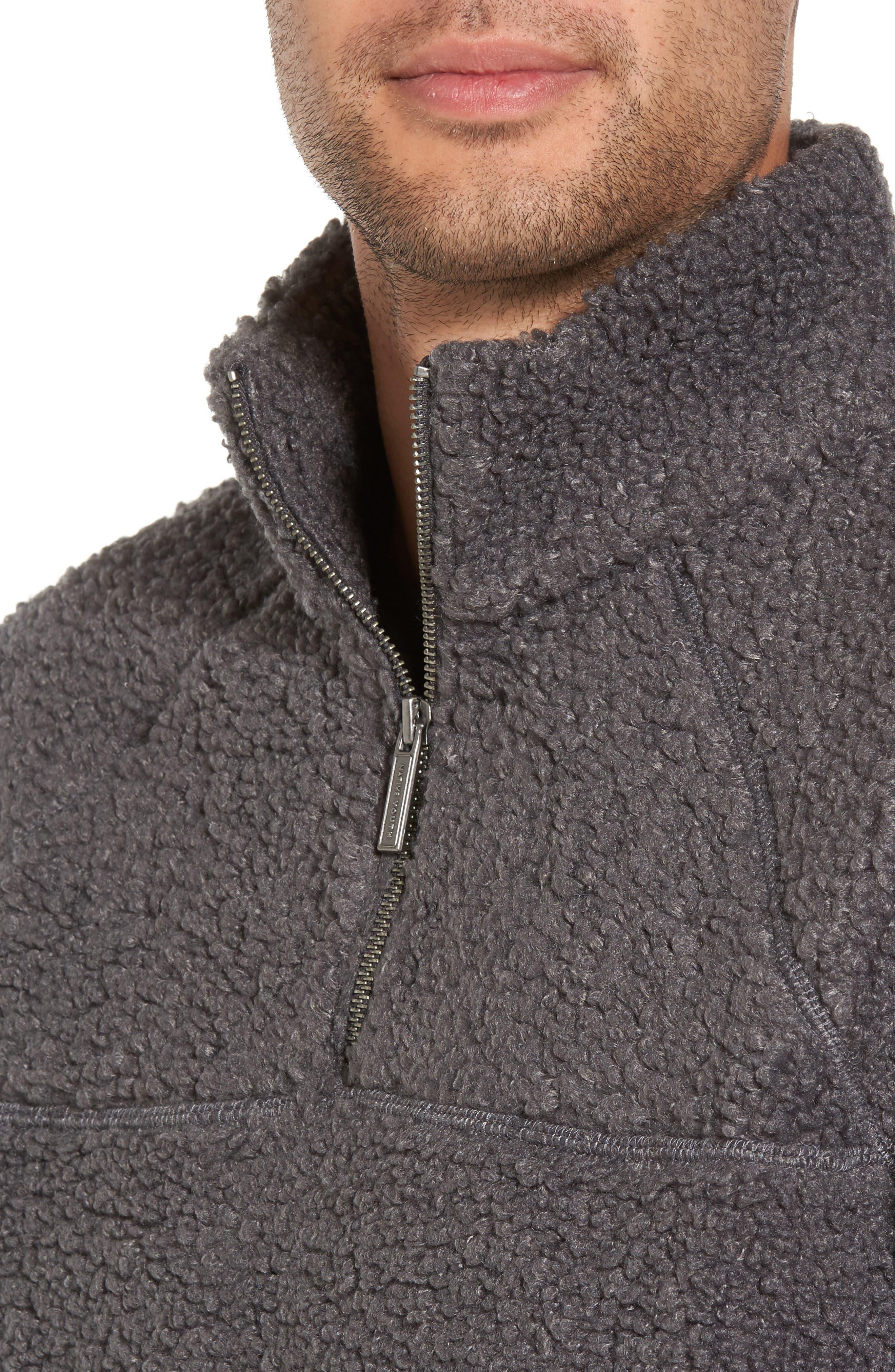Warlock Faux Shearling Quarter Zip Sweater,                             Alternate thumbnail 4, color,