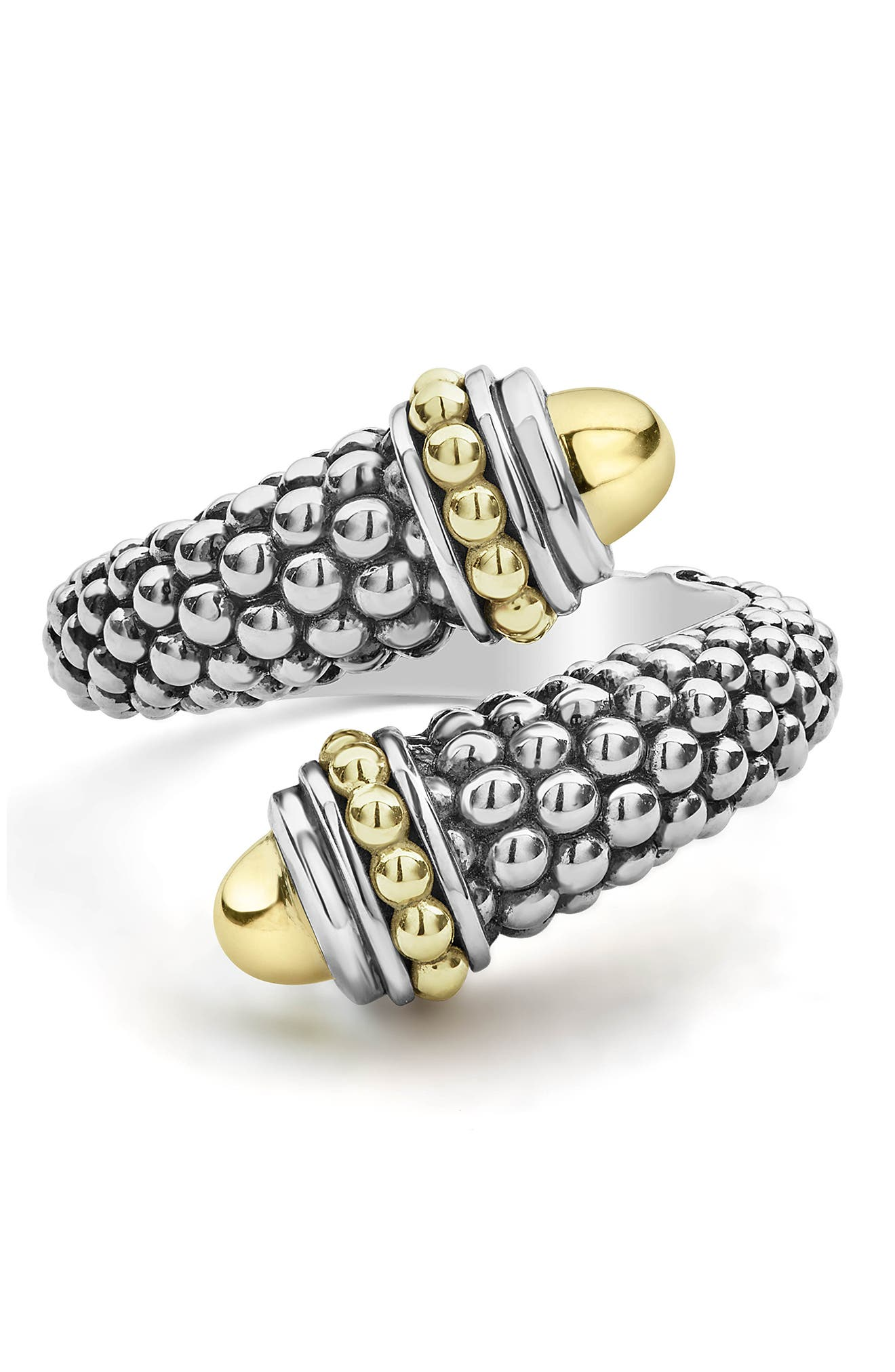 Signature Caviar Gold Cap Crossover Ring,                             Alternate thumbnail 6, color,                             SILVER/ GOLD