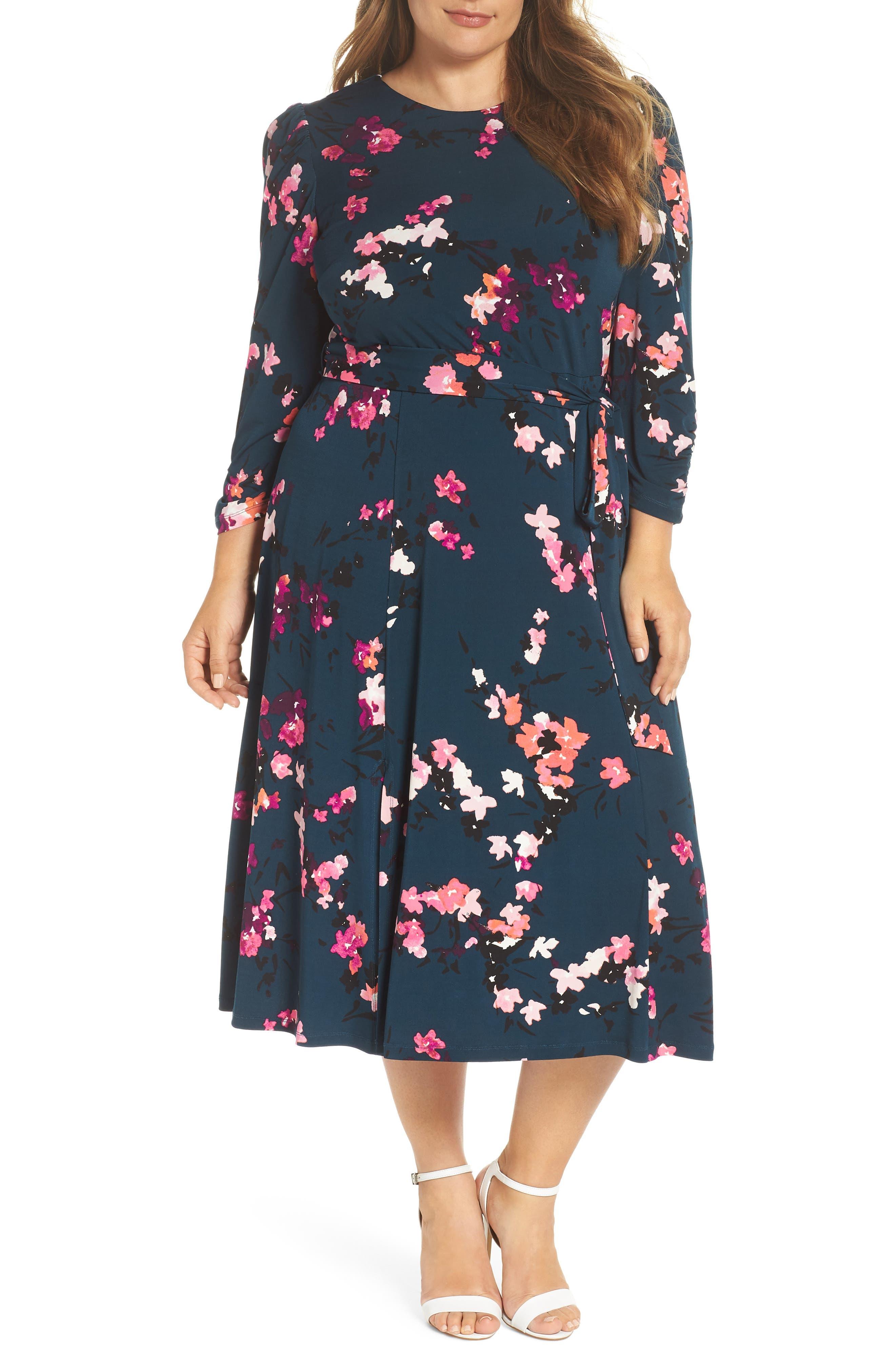 1930s Dresses | 30s Art Deco Dress Plus Size Womens Eliza J Floral Print Midi Dress $88.80 AT vintagedancer.com