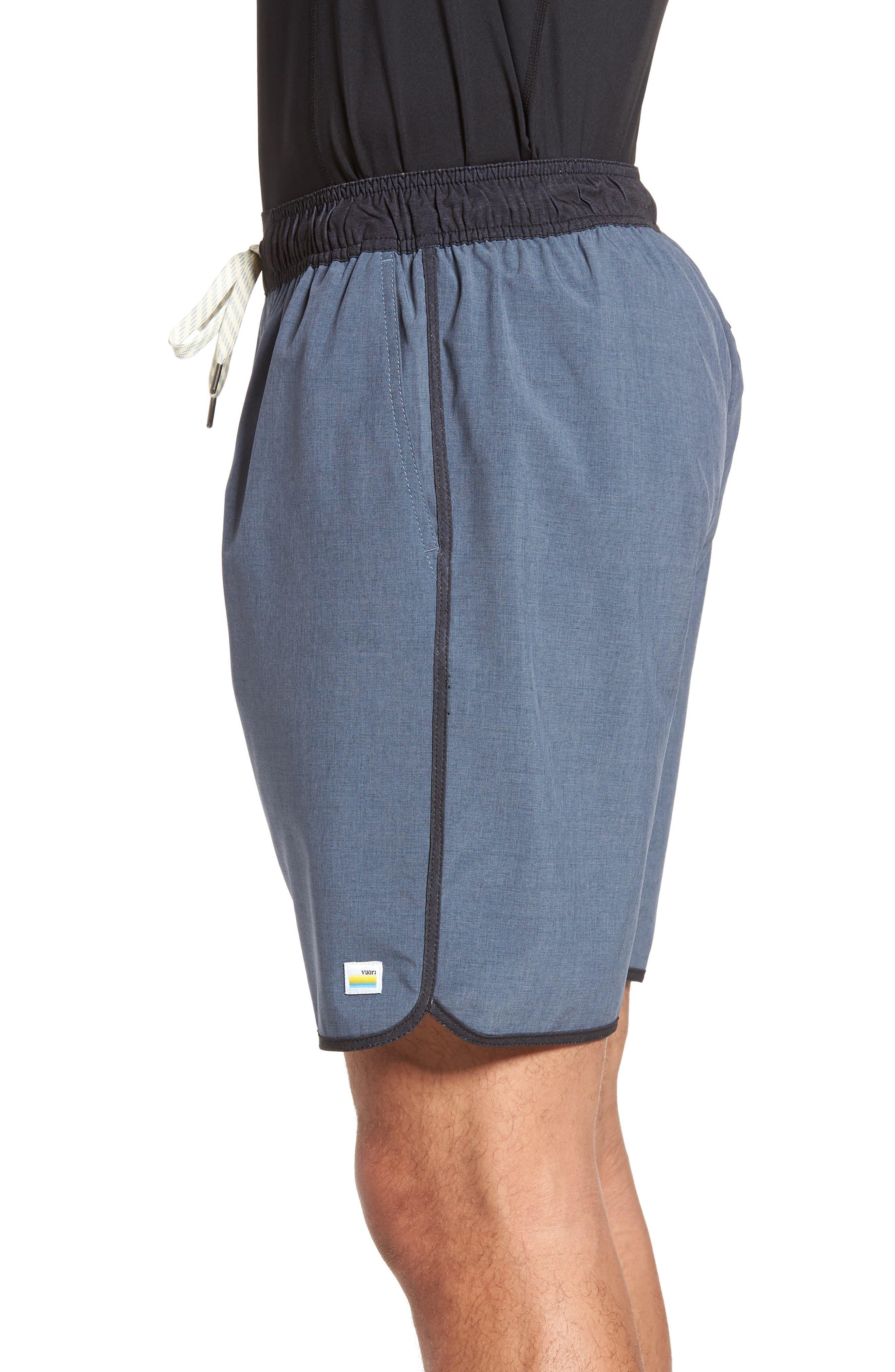 Banks Performance Hybrid Shorts,                             Alternate thumbnail 4, color,                             AZURE LINEN TEXTURE