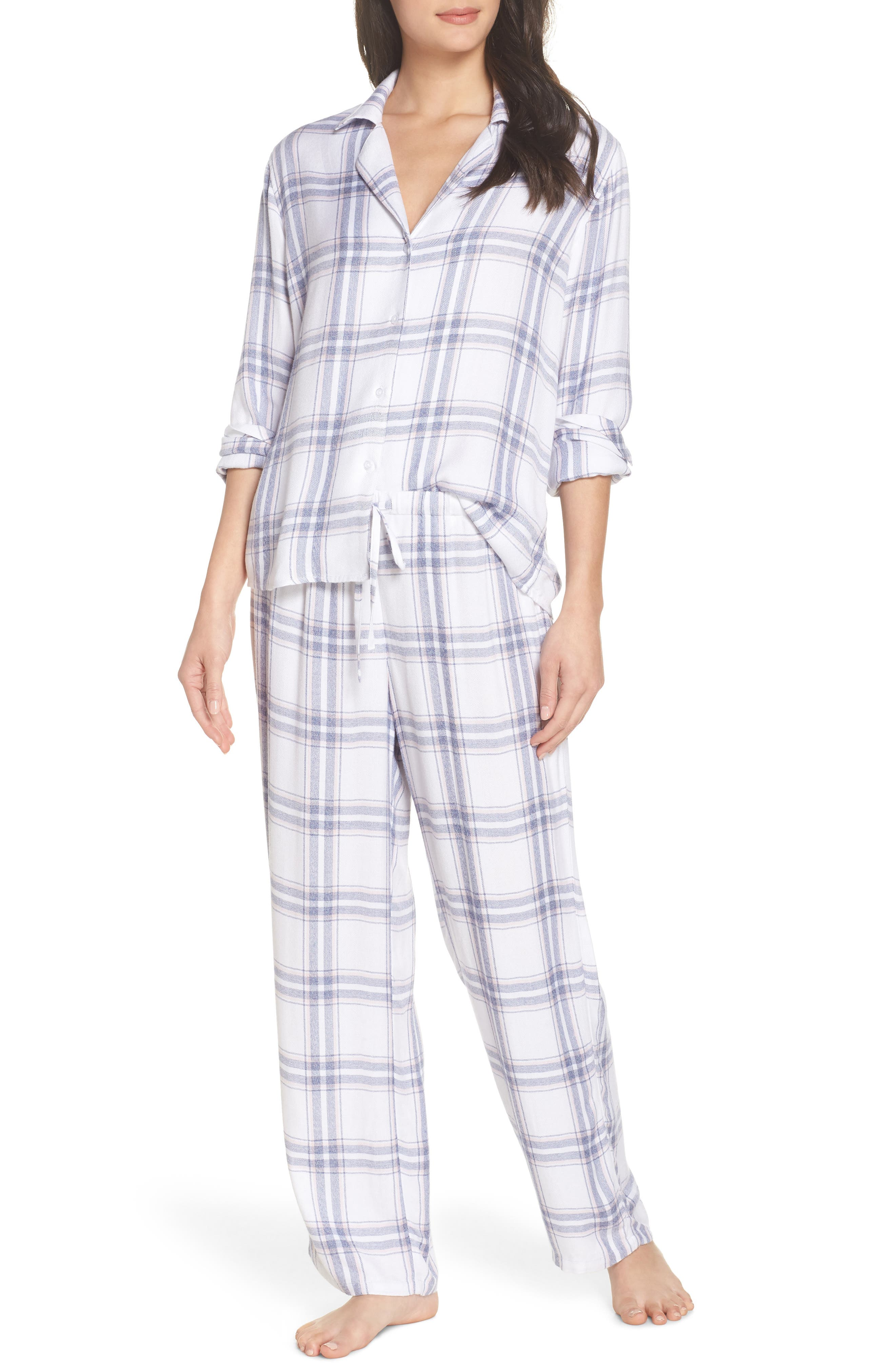 Trouser Pajamas,                             Main thumbnail 1, color,                             IVORY SKY BLUSH