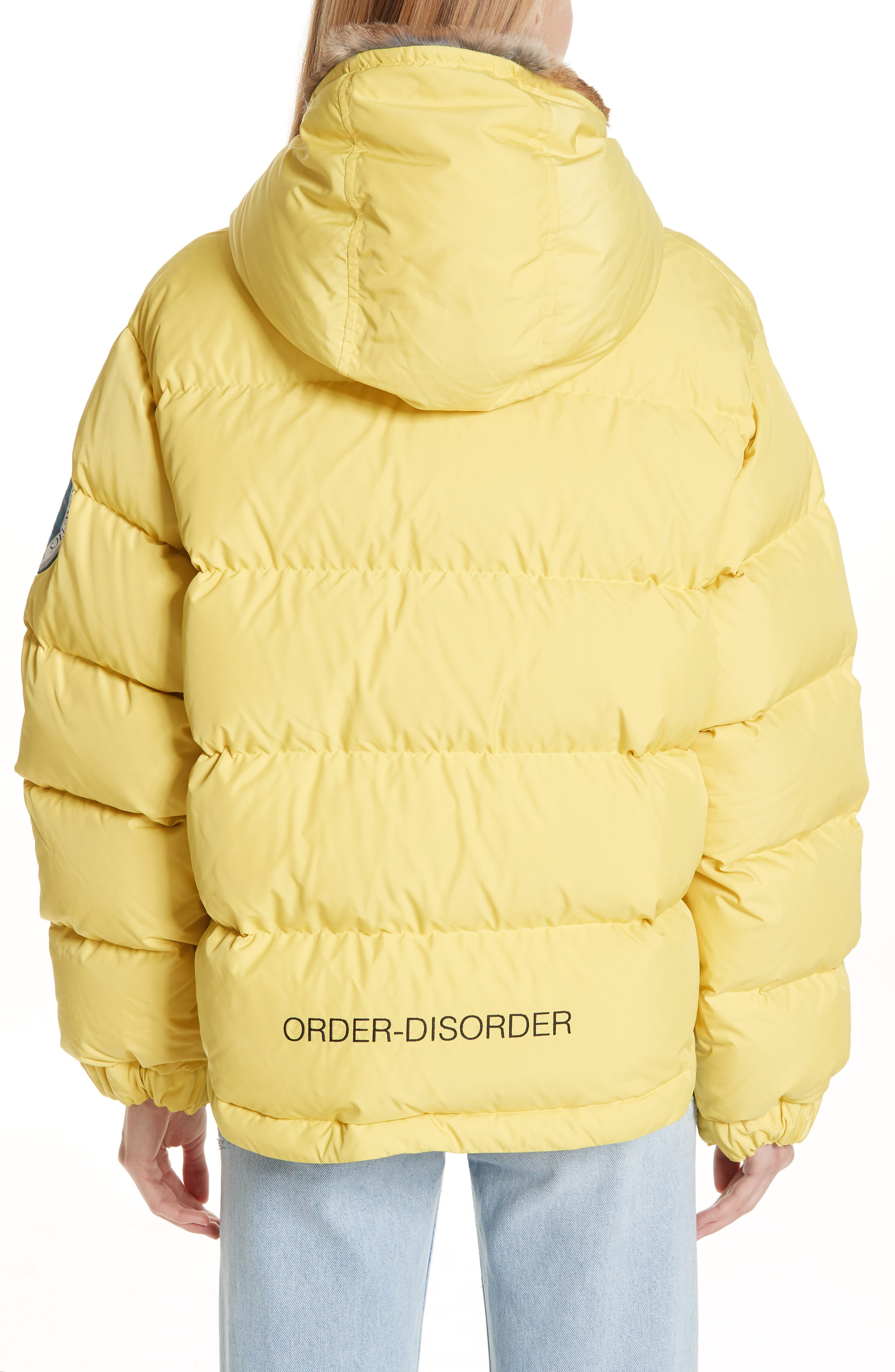 UNDERCOVER,                             Hooded Puffer Coat With Genuine Rabbit Fur Trim,                             Alternate thumbnail 2, color,                             700