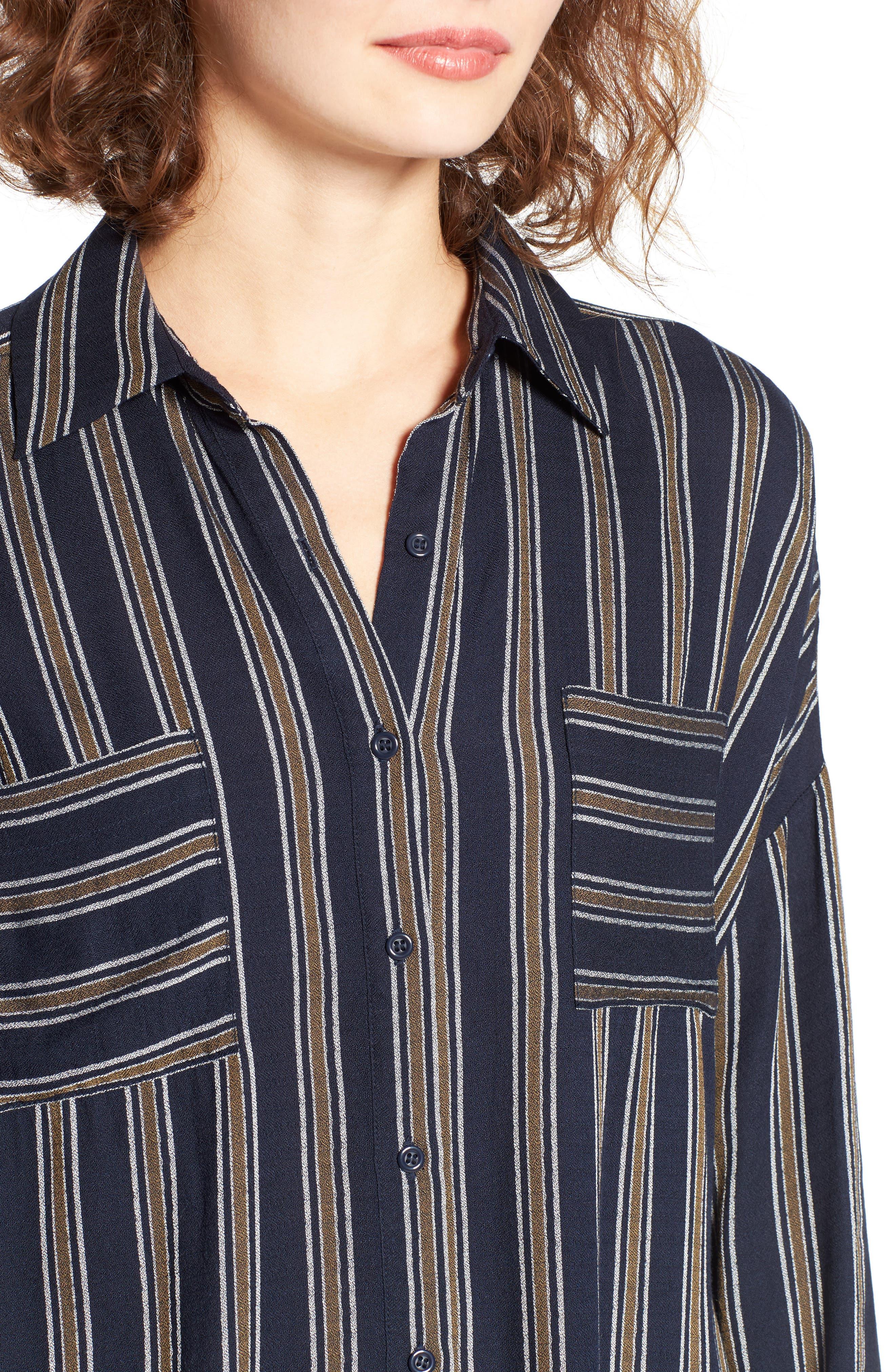 BP.,                             Stripe Button Front Shirt,                             Alternate thumbnail 4, color,                             410