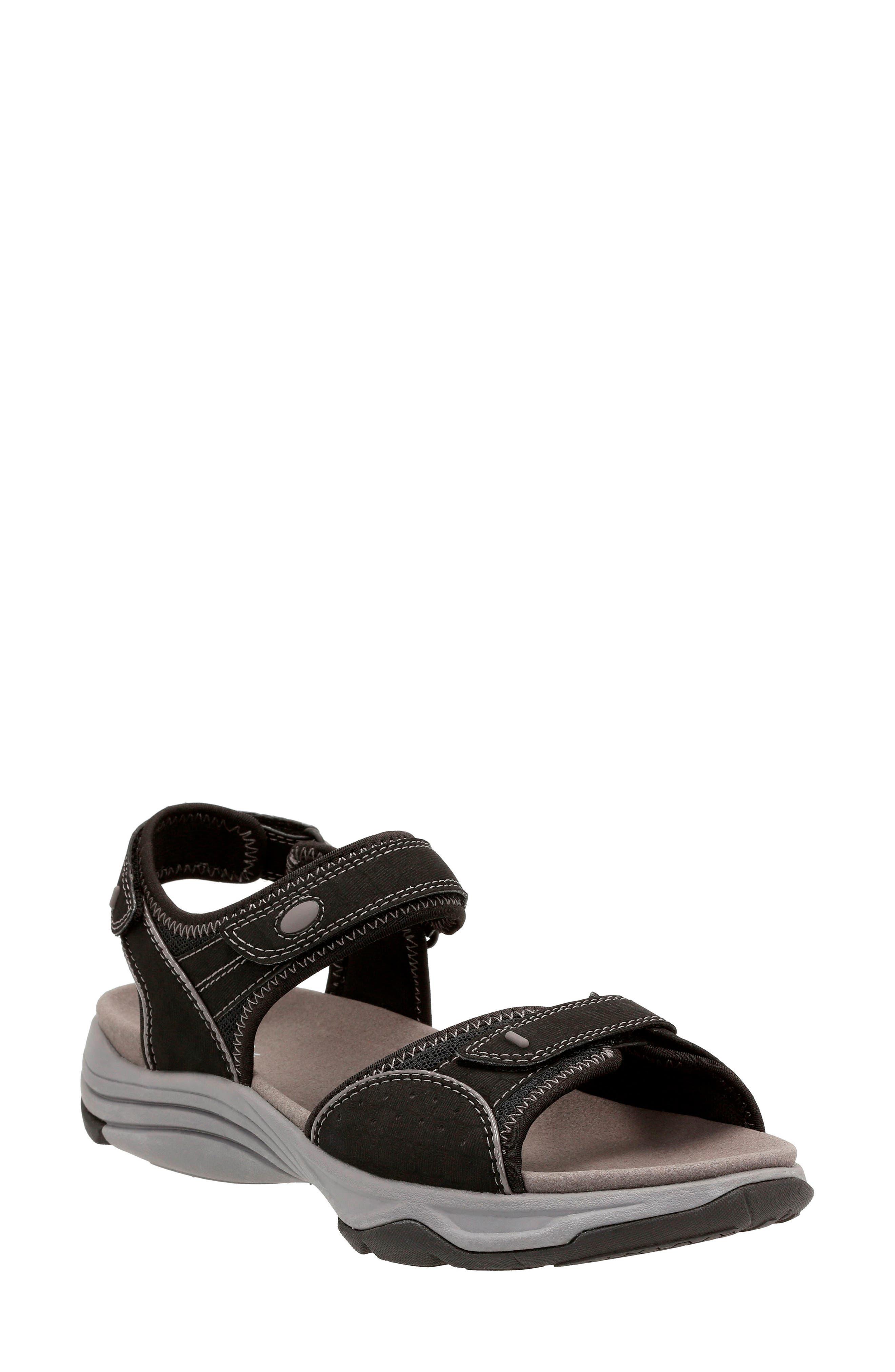 Wave Grip Sandal,                         Main,                         color, BLACK FABRIC