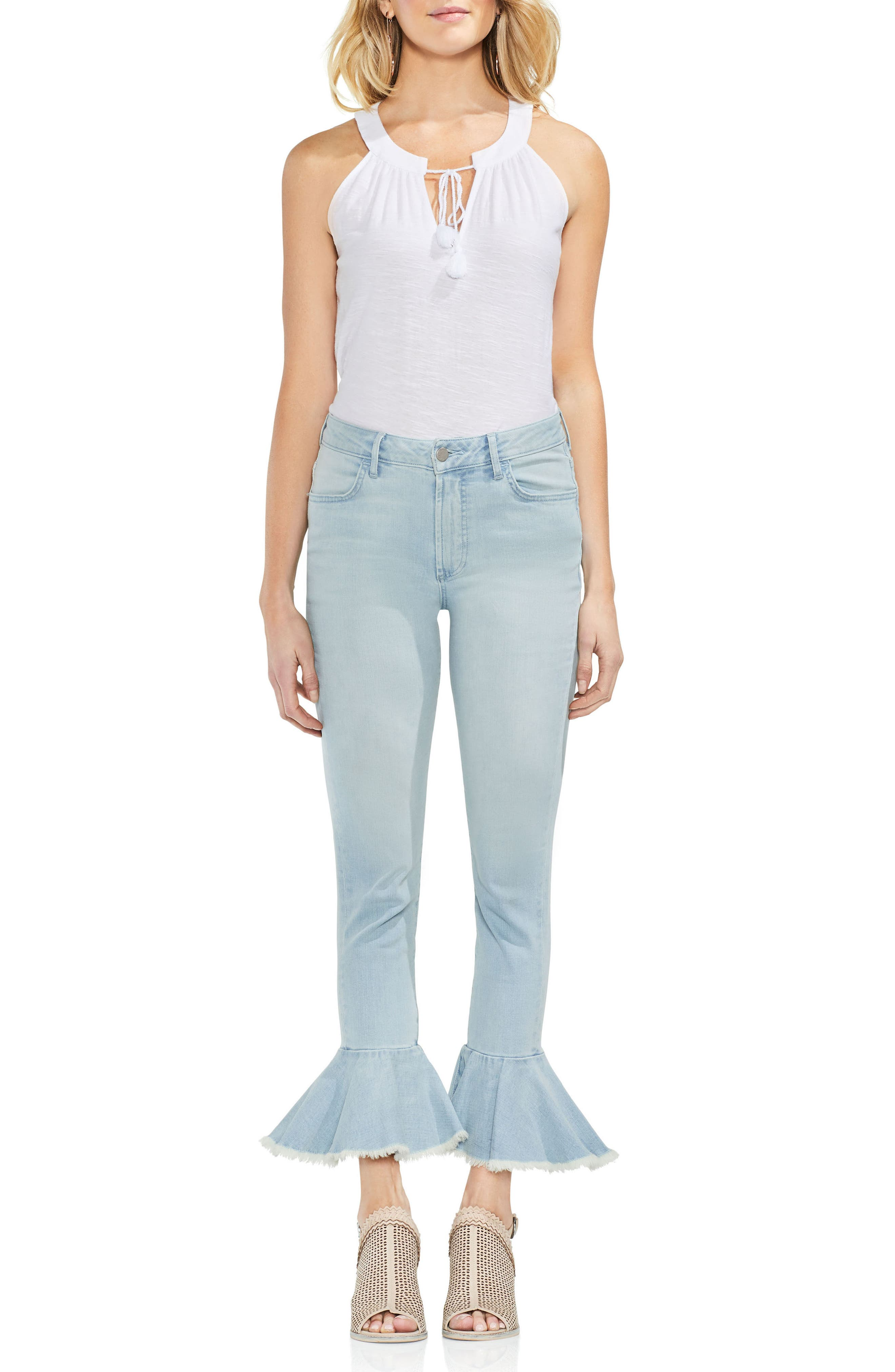 Ruffle Hem Ankle Jeans,                             Alternate thumbnail 3, color,                             400