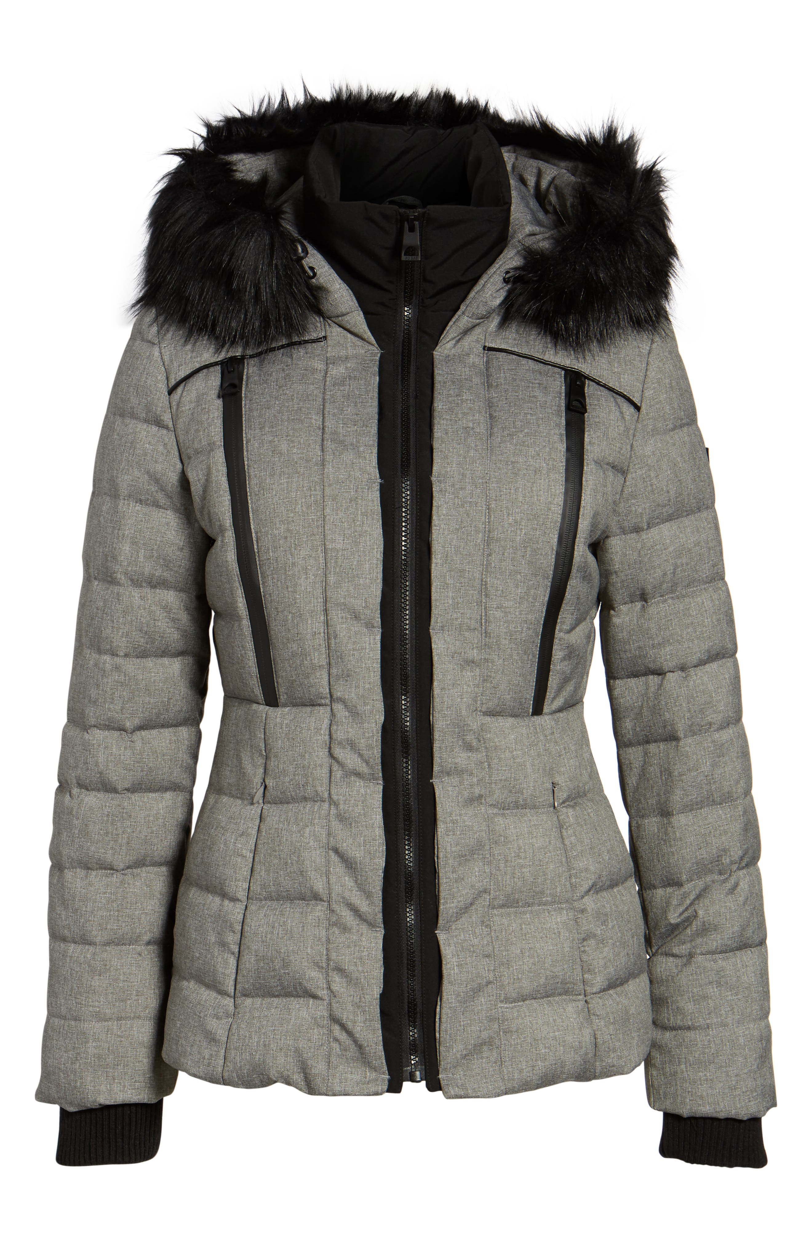 Quilted Hooded Puffer Coat with Faux Fur Trim,                             Alternate thumbnail 5, color,                             064