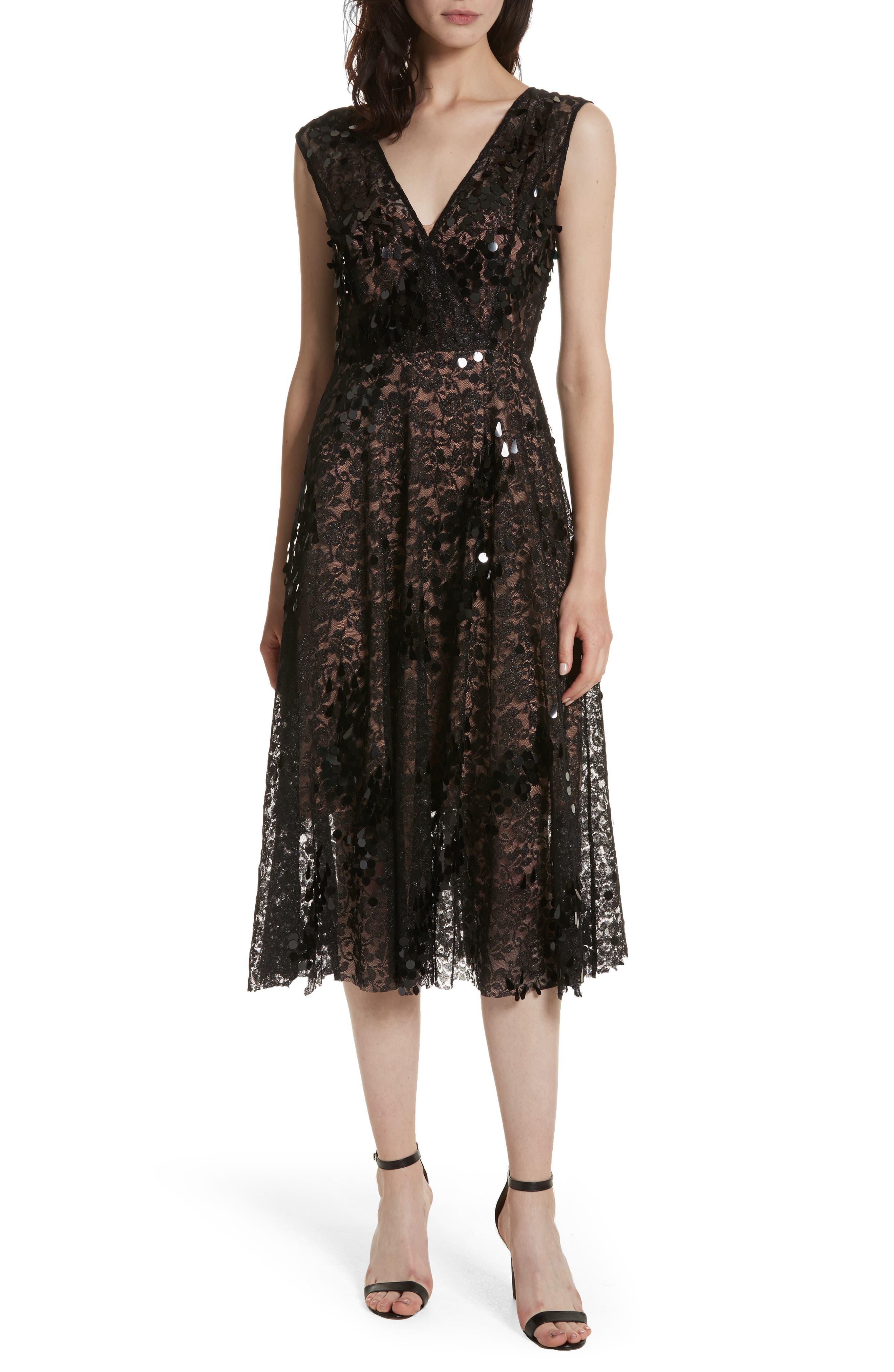 Lace Fit & Flare Midi Dress,                         Main,                         color,