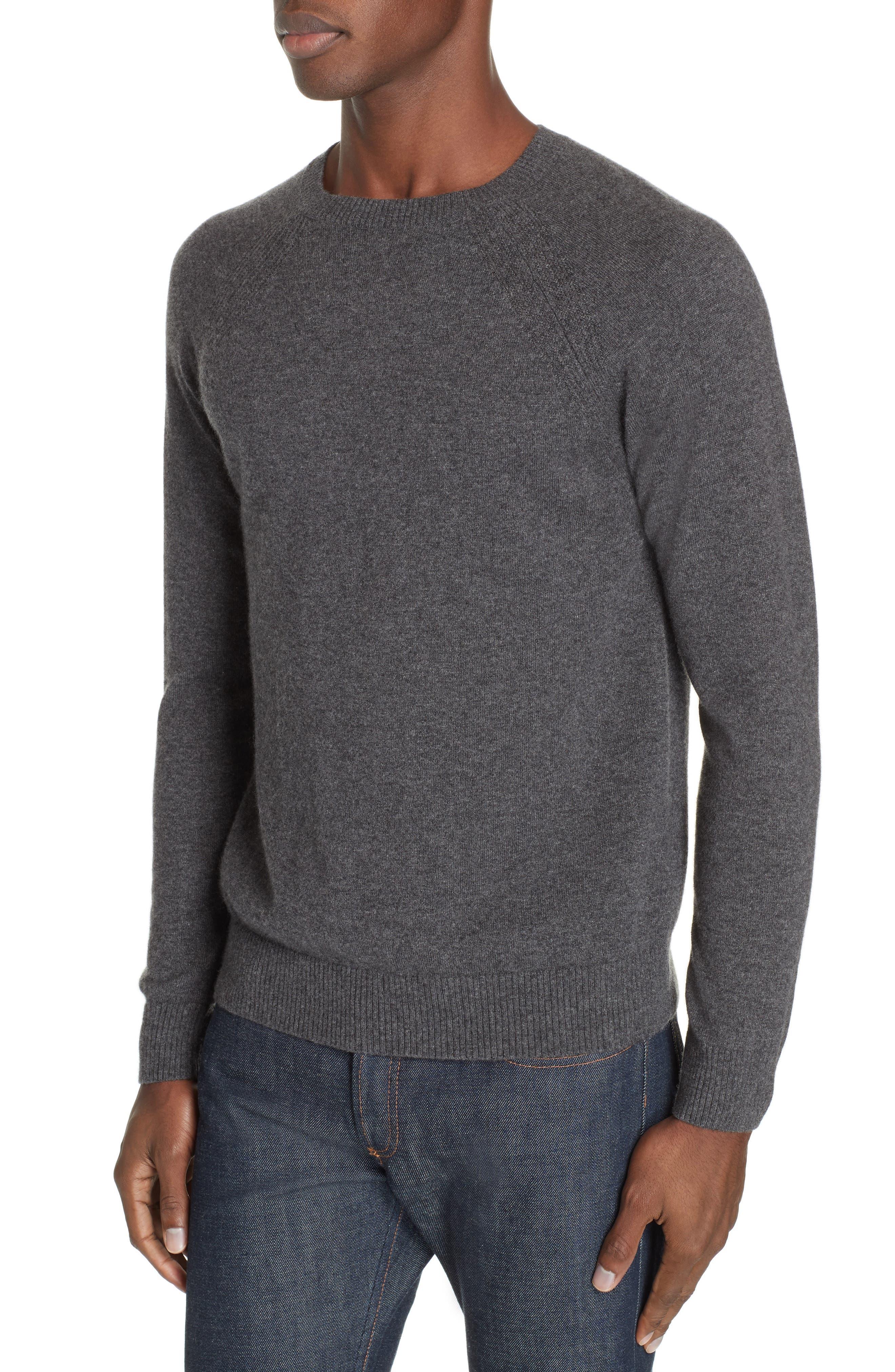 Cashmere Crewneck Sweater,                             Alternate thumbnail 4, color,                             ANTHRACITE