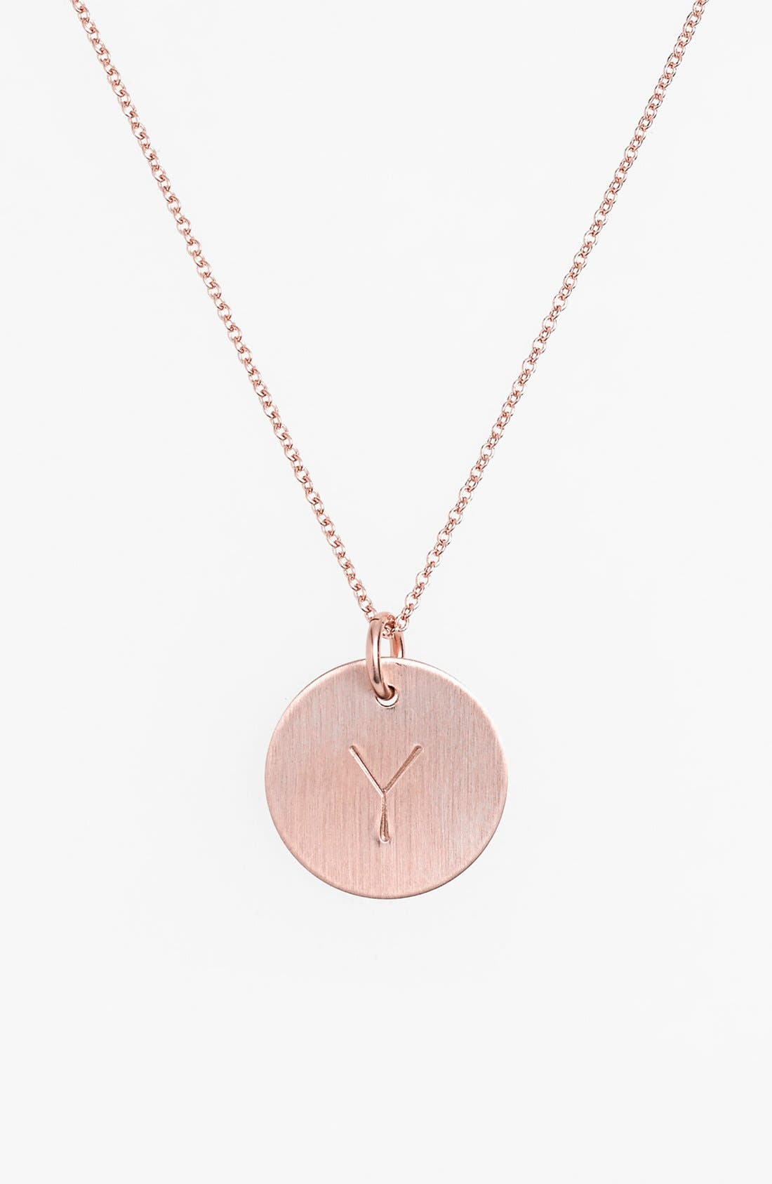 14k-Rose Gold Fill Initial Disc Necklace,                             Main thumbnail 25, color,