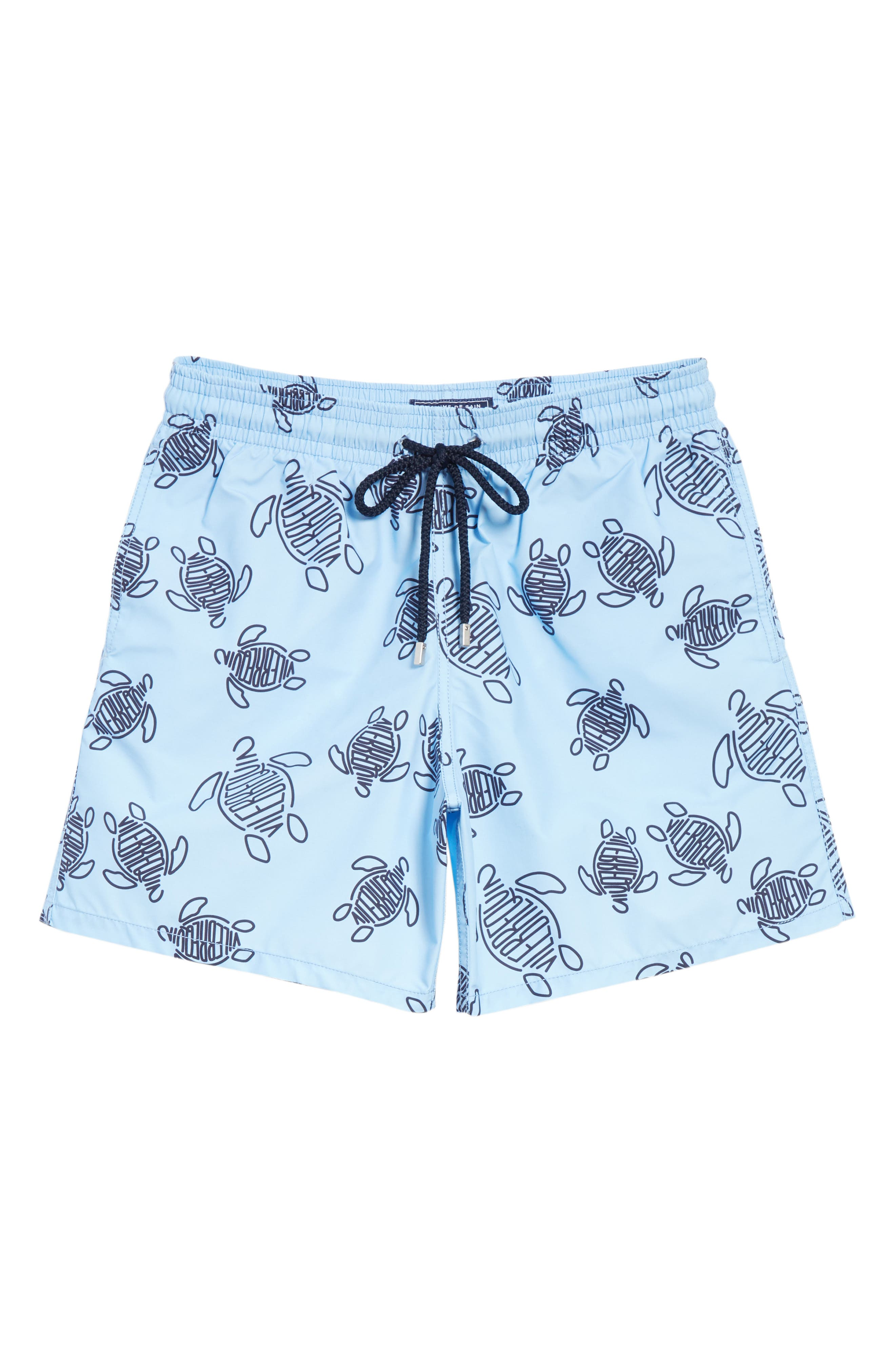 New Vilebrequin Turtle Print Swim Trunks,                             Alternate thumbnail 6, color,                             450