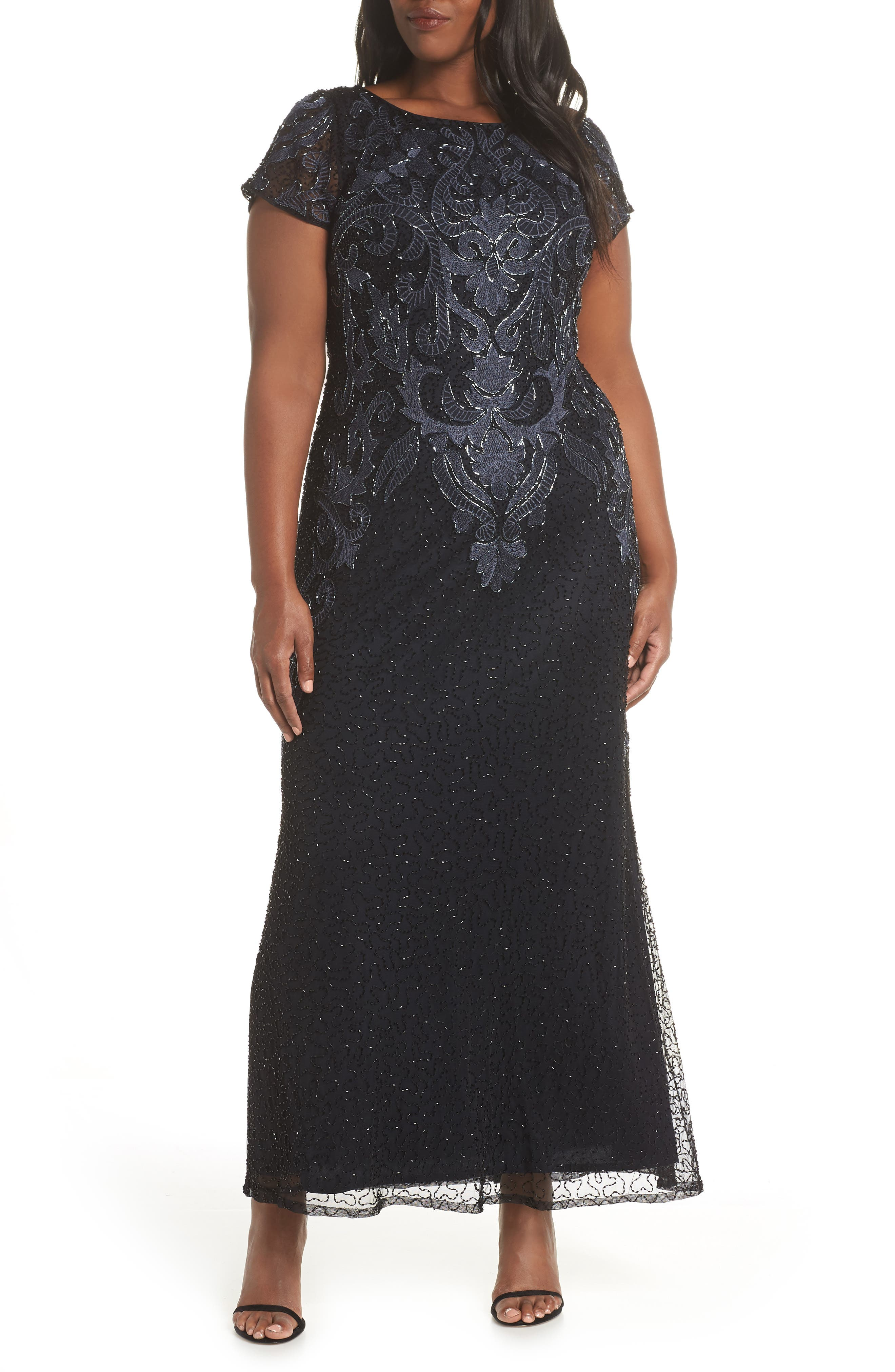 PISARRO NIGHTS,                             Embroidered Mesh Gown,                             Alternate thumbnail 2, color,                             001
