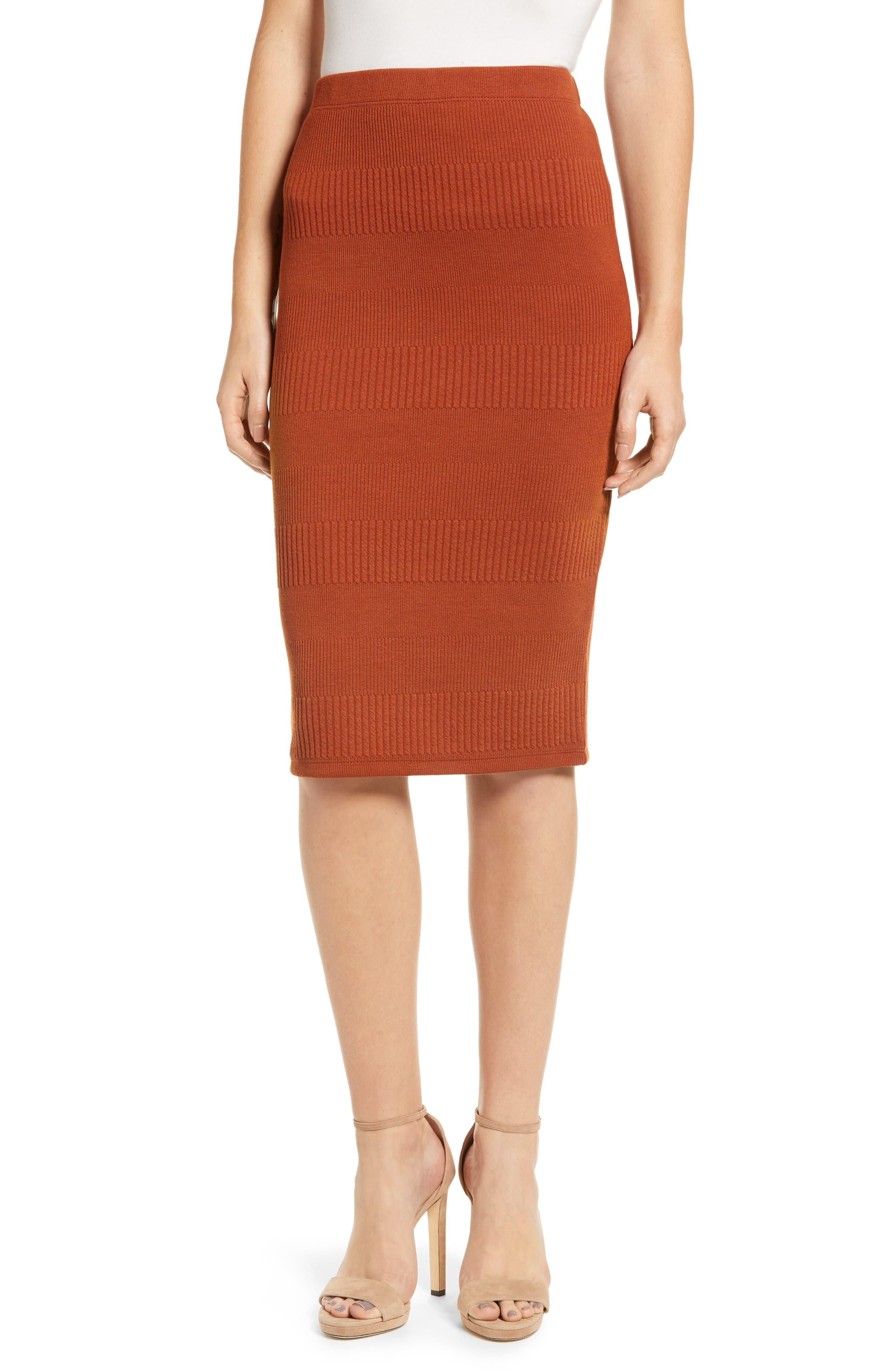 Midi Pencil Skirt,                         Main,                         color, BROWN SPICE