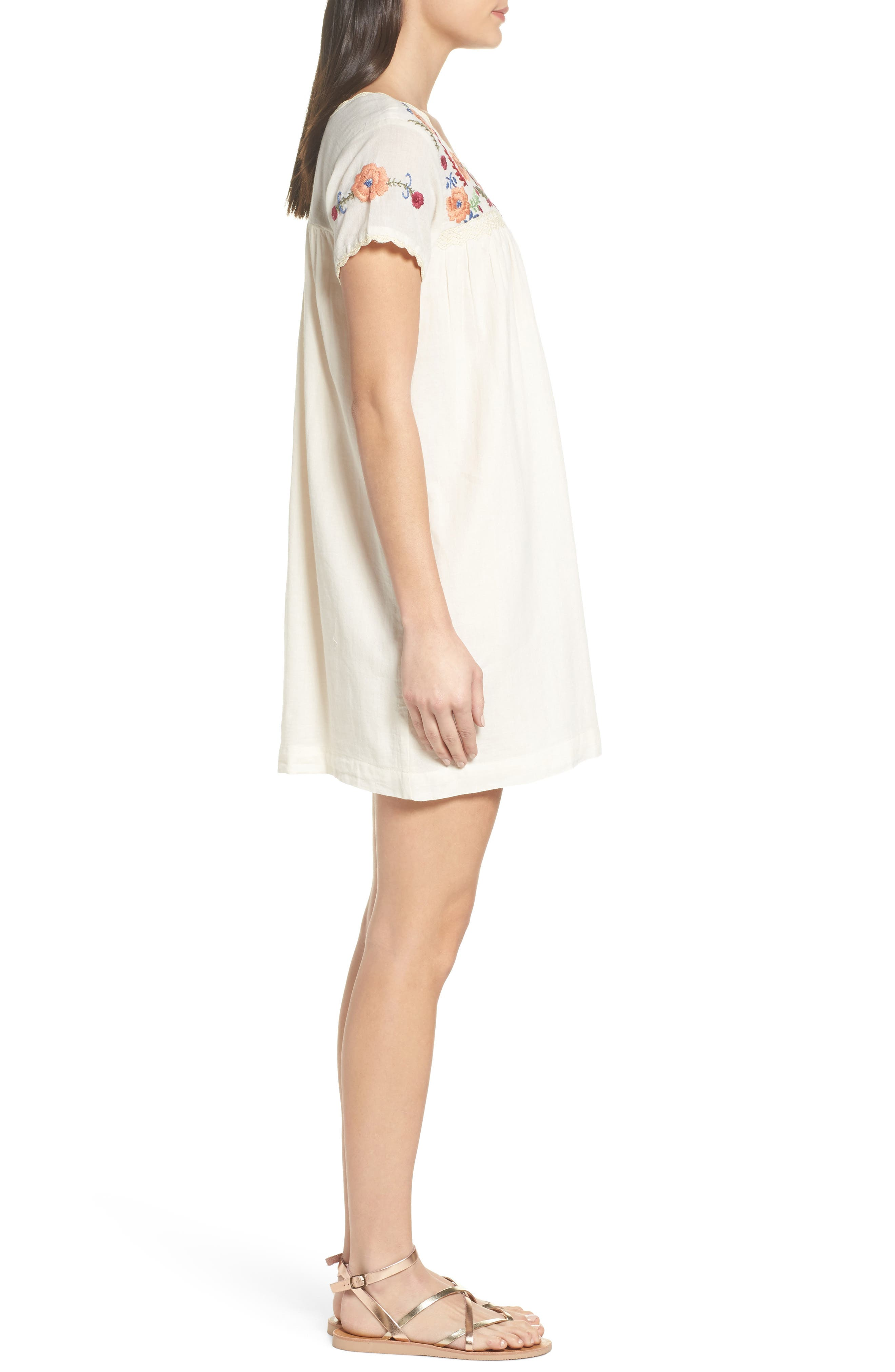 Embroidered Shift Dress,                             Alternate thumbnail 3, color,                             110