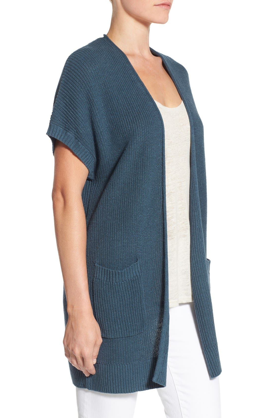 Shaker Stitch Open Front Cardigan,                             Alternate thumbnail 12, color,