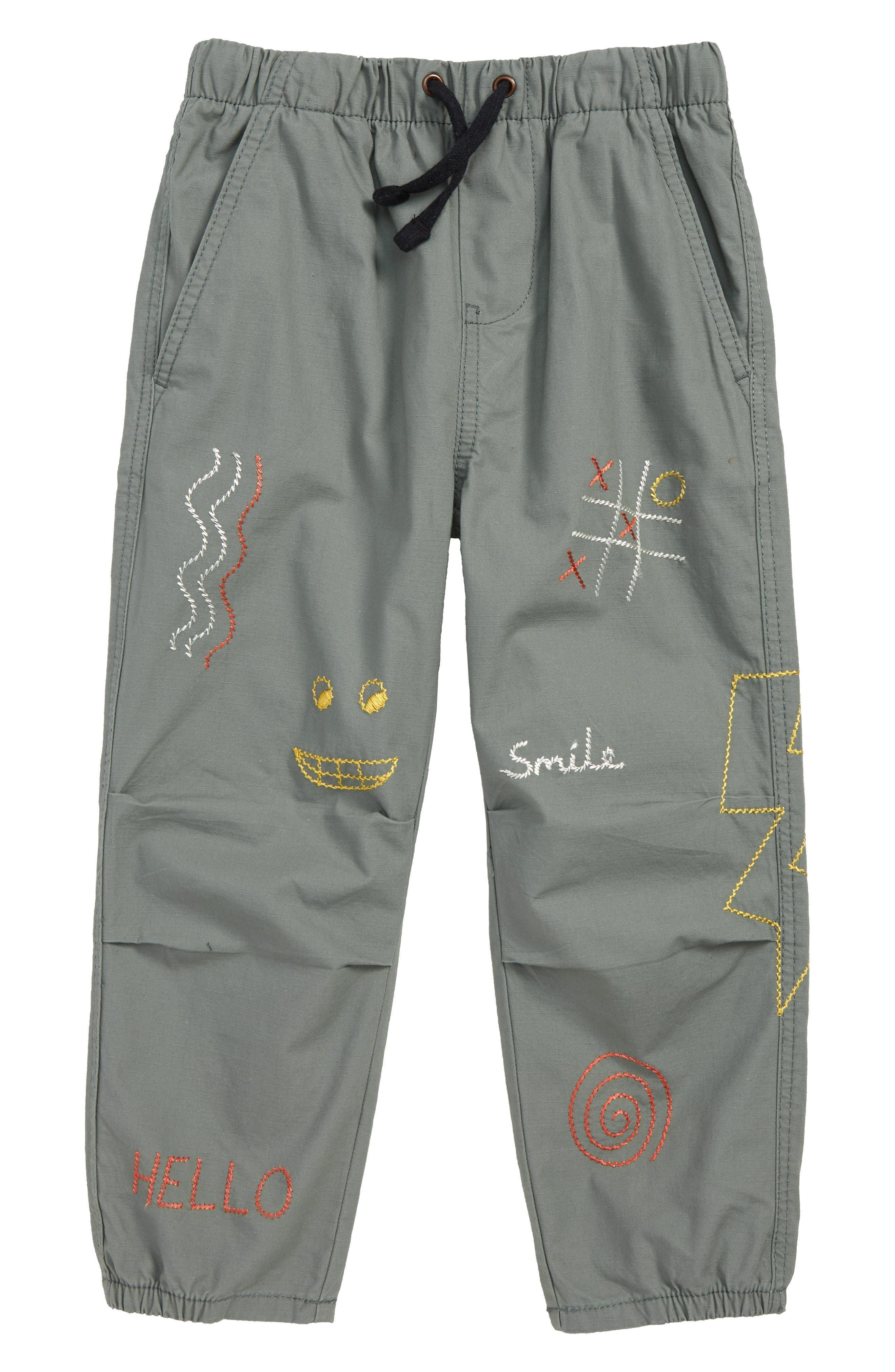 Embroidered Dart Pants, Main, color, GREEN AGAVE DOODLES