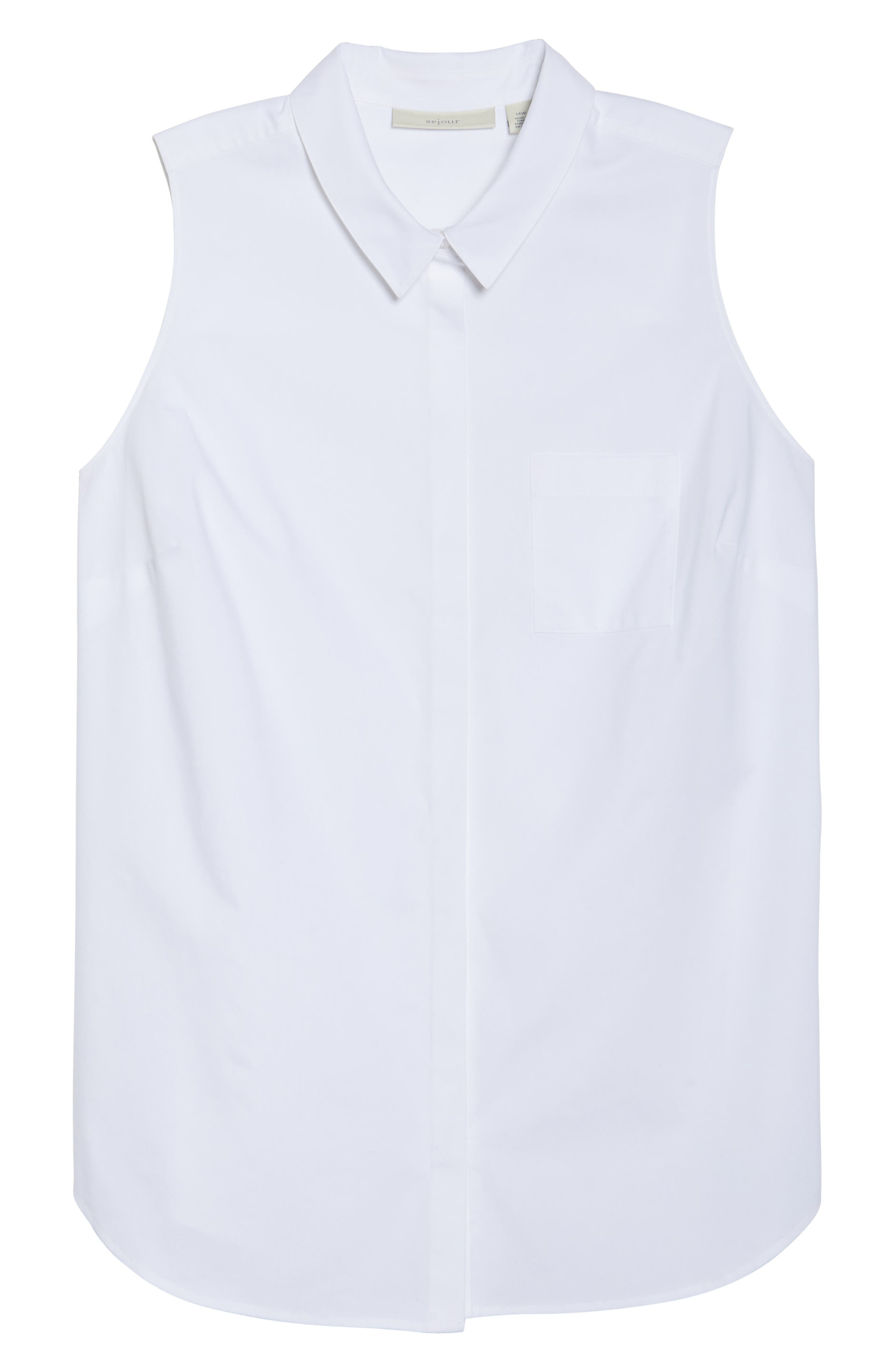 Sleeveless Button Front Top,                             Alternate thumbnail 7, color,                             100