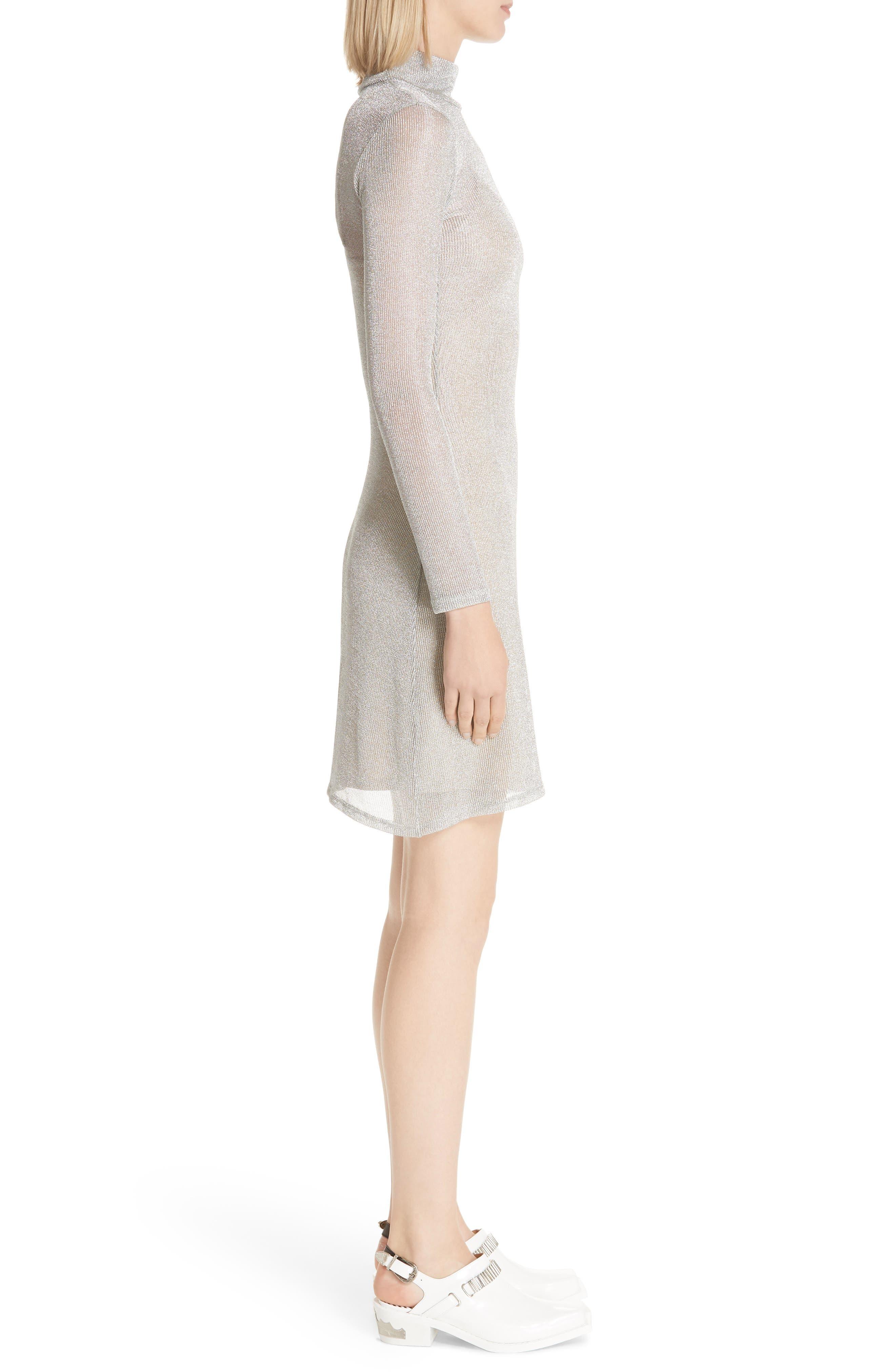 Metallic Rib Turtleneck Dress,                             Alternate thumbnail 3, color,                             SM - SILVER MESH
